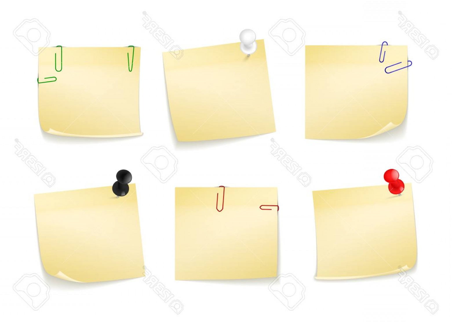 White Staples Vector Logo: Photostock Vector Collection Of Different Yellow Stickers For Your Notes Attached Buttons And Staples Vector Illustrat