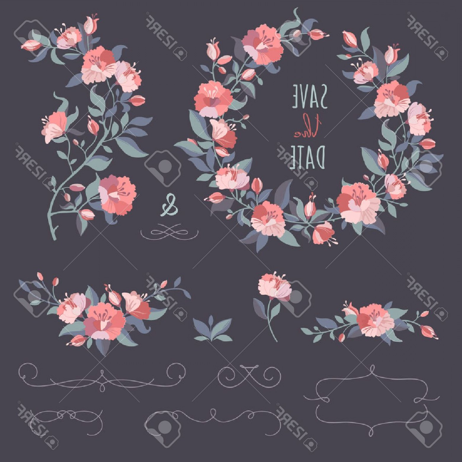 Floral Vector Calligraphy: Photostock Vector Collection Of Floral Wreaths Twigs Border Set Of Hand Drawing Calligraphic Borders Decorative Elemen