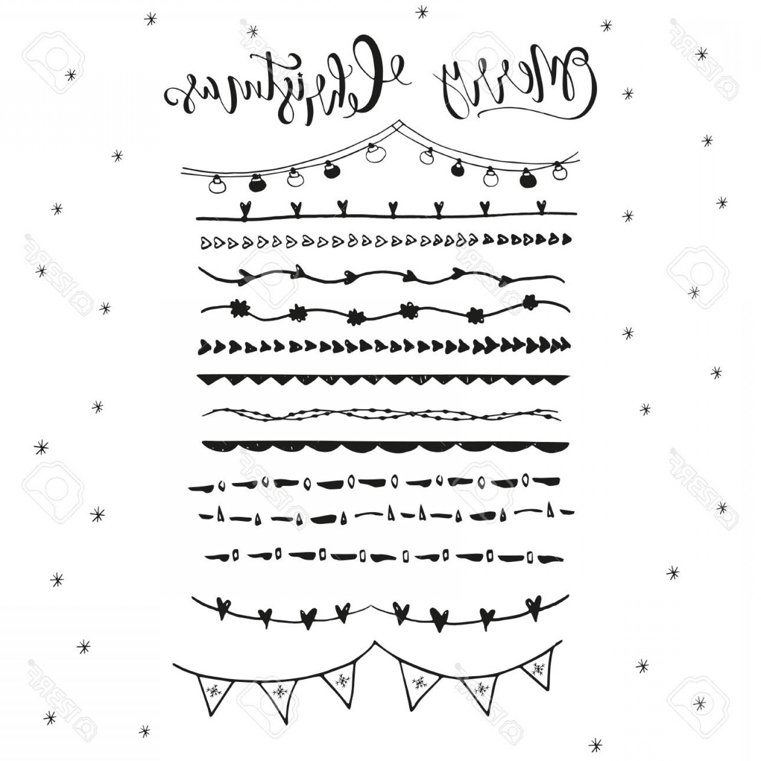 Christmas Divider Vector: Photostock Vector Collection Of Hand Drawn Christmas Borders With Lettering Cute And Unique Ink Swirls And Dividers Fo