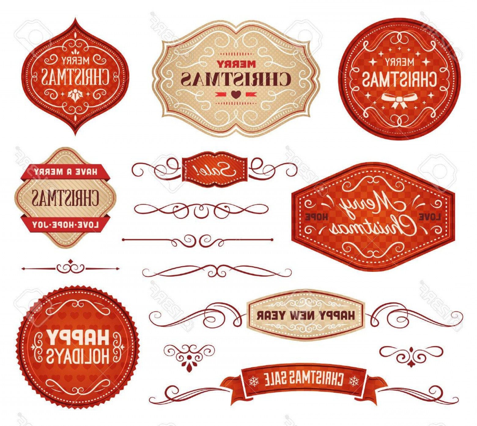 Vector Lables: Photostock Vector Collection Of Red And Beige Christmas Vector Labels And Ornaments