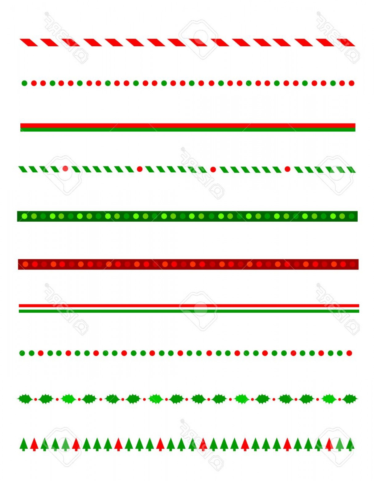 Christmas Divider Vector: Photostock Vector Collection Of Simple Christmas Themed Borders Divider Graphics Including Holly Border Candy Cane Pat