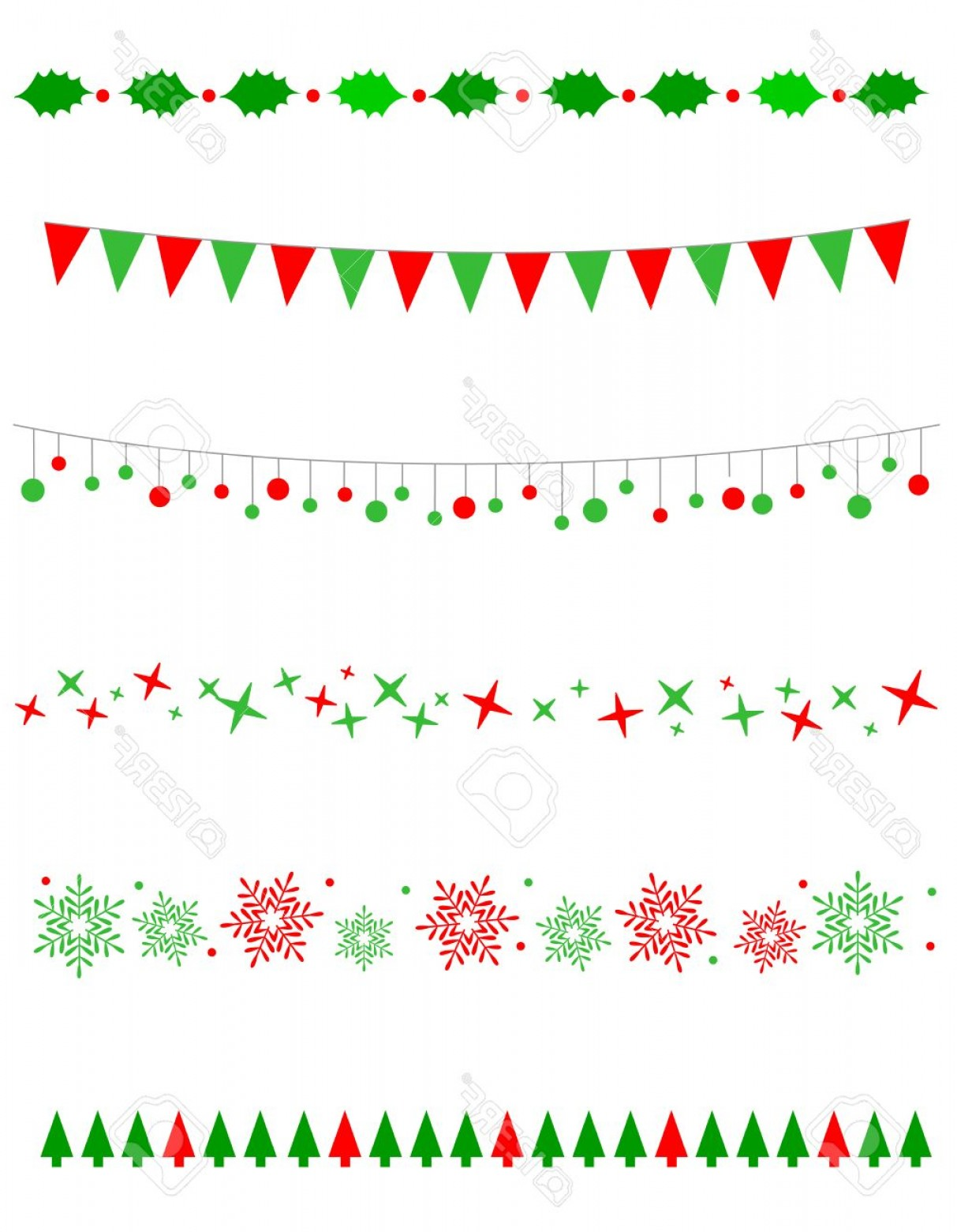 Christmas Divider Vector: Photostock Vector Collection On Christmas Borders Divider Graphics Including Holly Border Bulbs Lights Pattern Christm