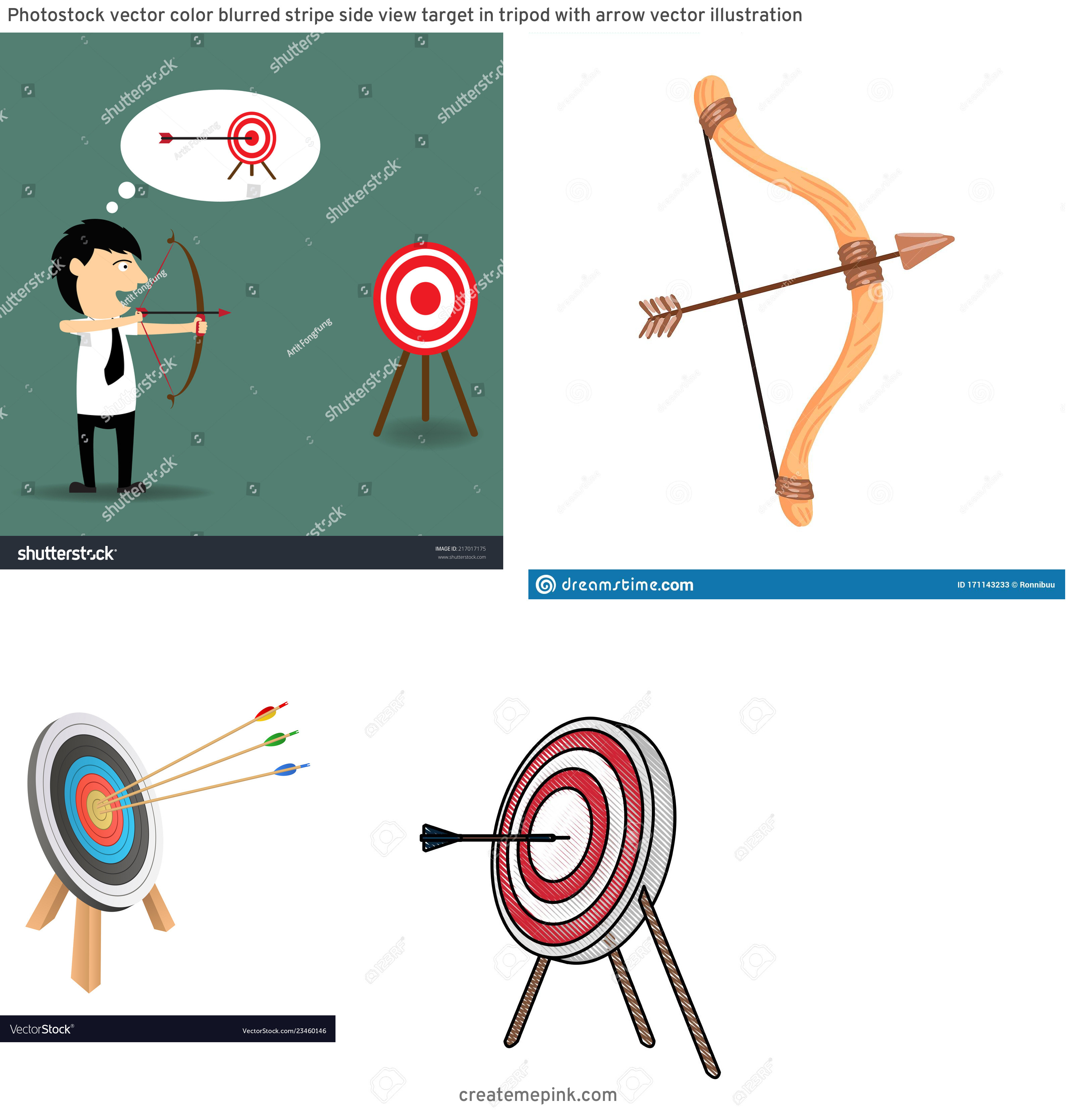 Target Bow And Arrow Vector: Photostock Vector Color Blurred Stripe Side View Target In Tripod With Arrow Vector Illustration