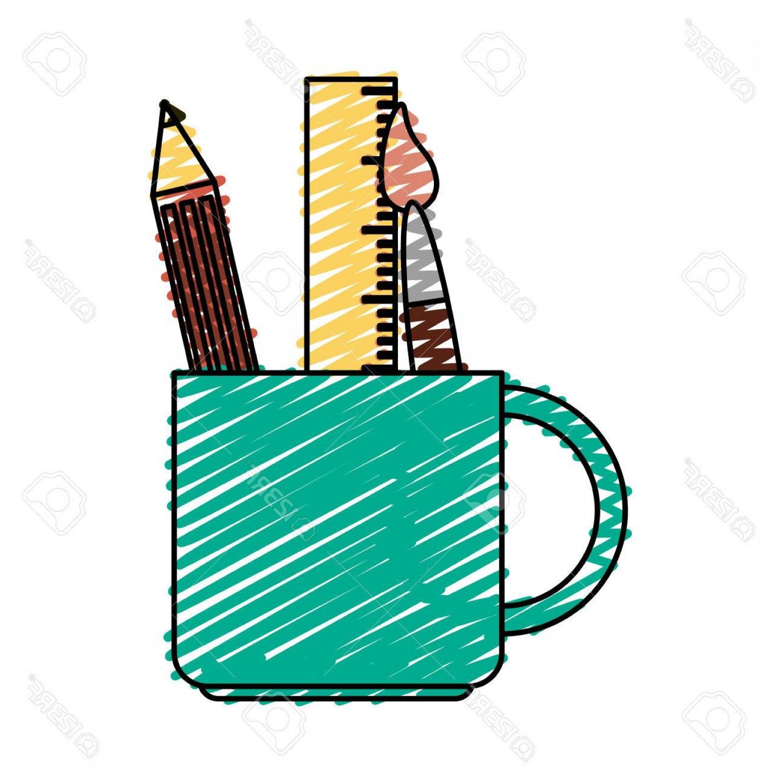 Vector Pencil Holder: Photostock Vector Color Crayon Stripe Cartoon Pencil Holder With Brush And Ruler Vector Illustration