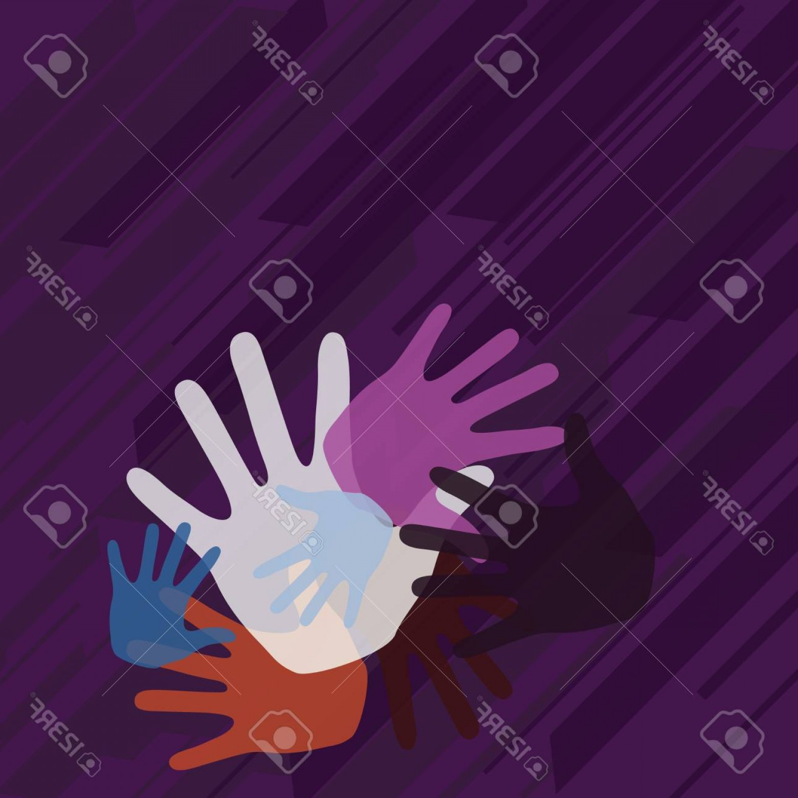 Vector Group Of Hands Overlapped: Photostock Vector Color Hand Marks Of Different Sizes Overlapping For Teamwork And Creativity Design Business Empty Co