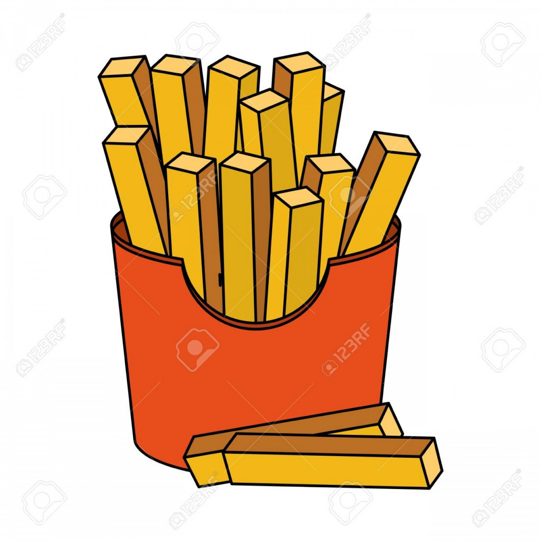 Fries Vector: Photostock Vector Color Image Cartoon Box With French Fries Vector Illustration