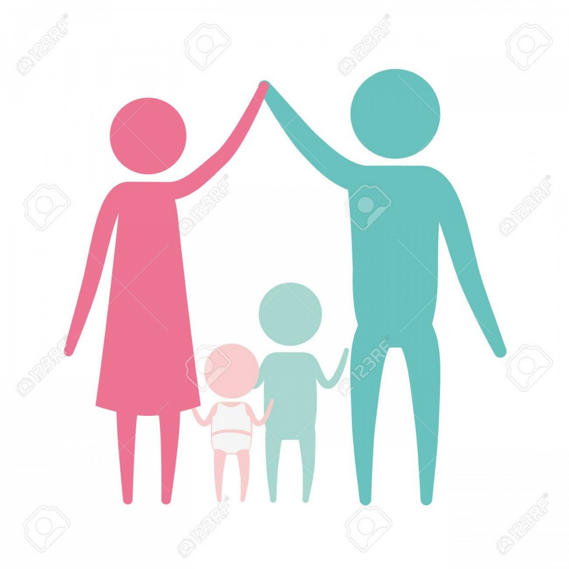 Holding Hands Up Silhouette Vector: Photostock Vector Color Silhouette Set Pictogram Parents Holding Hands Up And Baby Girl And Boy In The Middle Of Them