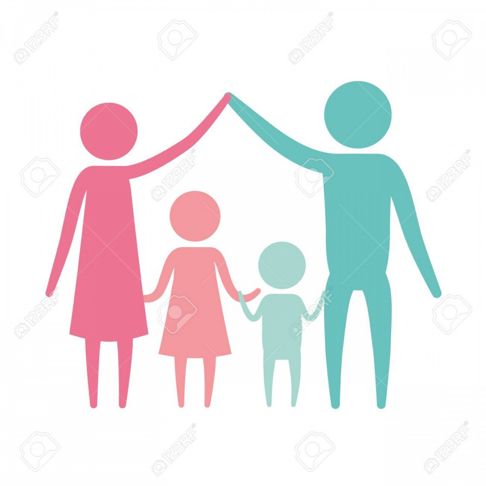 Holding Hands Up Silhouette Vector: Photostock Vector Color Silhouette Set Pictogram Parents Holding Hands Up And Children In The Middle Of Them Vector Il