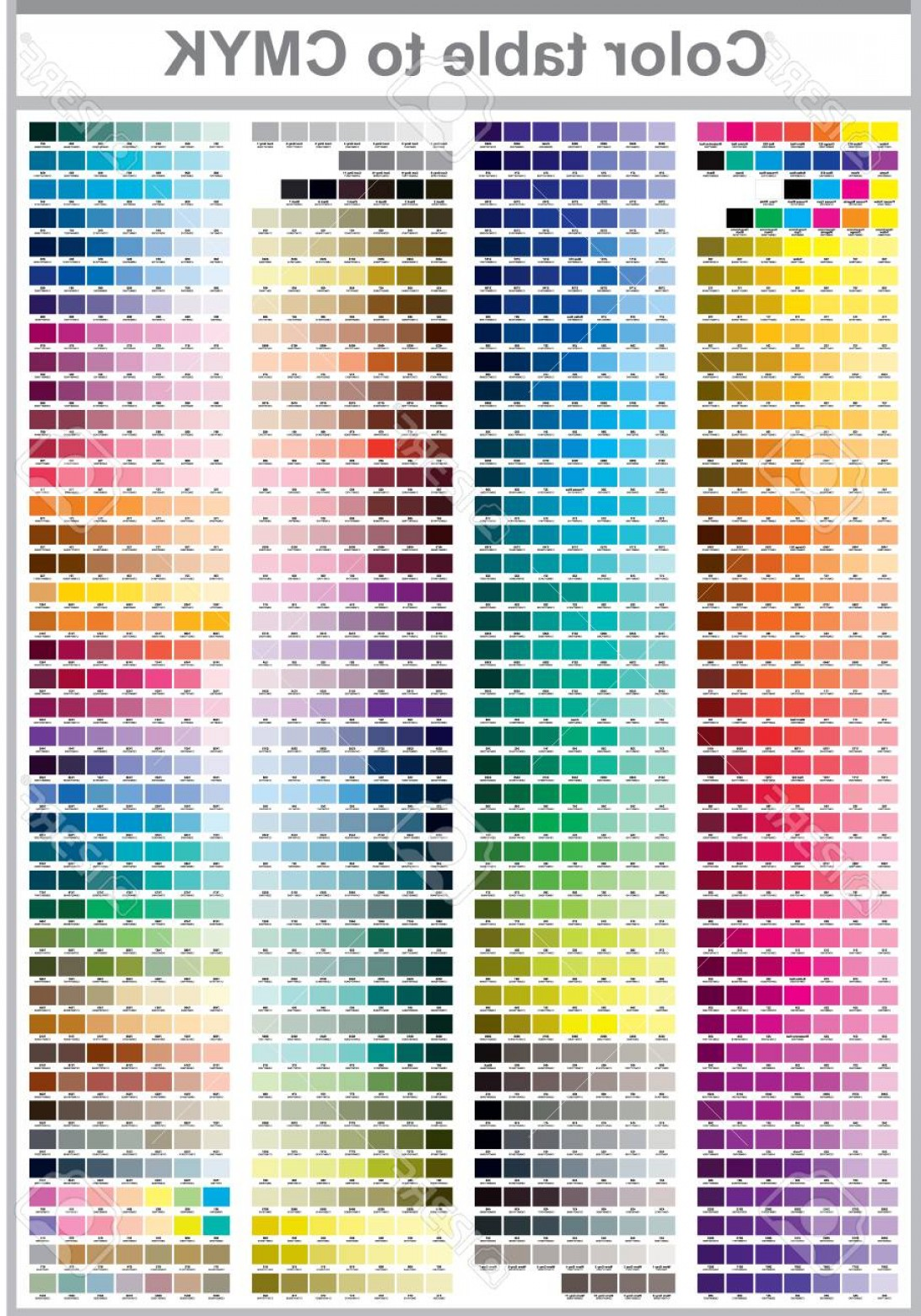 Color CMYK Chart Vector Free: Photostock Vector Color Table Pantone To Cmyk Color Print Test Page Illustration Cmyk Colors For Print Vector Color Pa