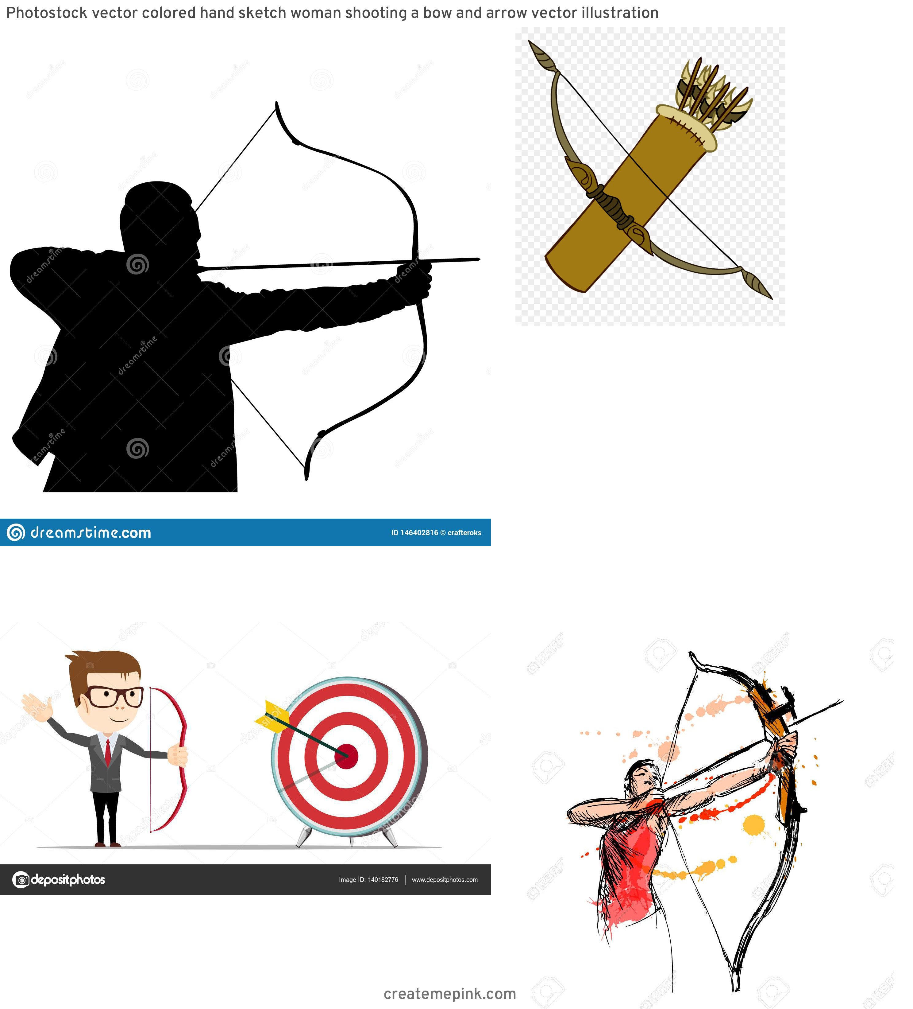 Target Bow And Arrow Vector: Photostock Vector Colored Hand Sketch Woman Shooting A Bow And Arrow Vector Illustration