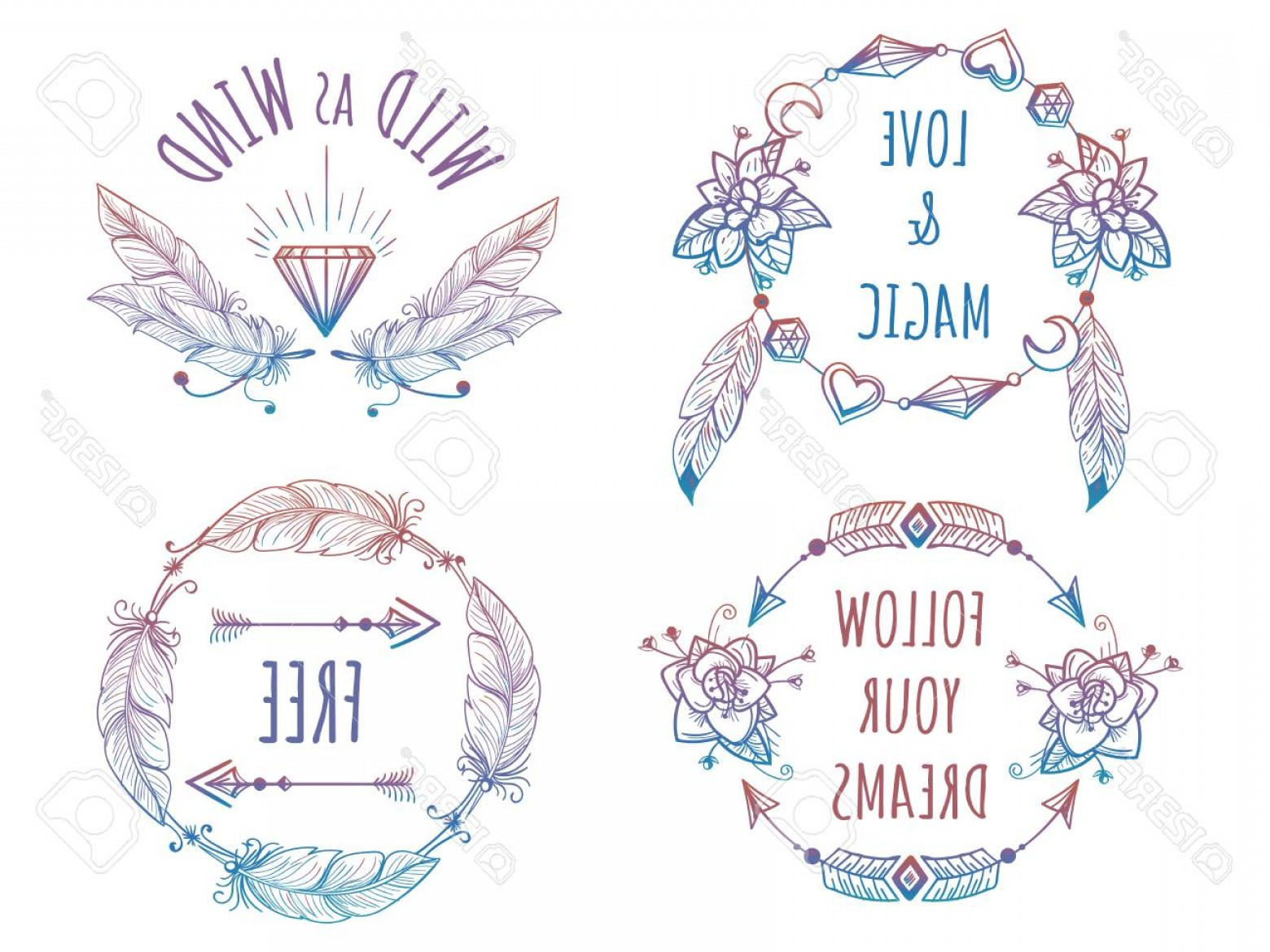 Bohemian Flowers Vector: Photostock Vector Colorful Bohemian Banners With Arrows Flowers And Feathers And Lettering Signs