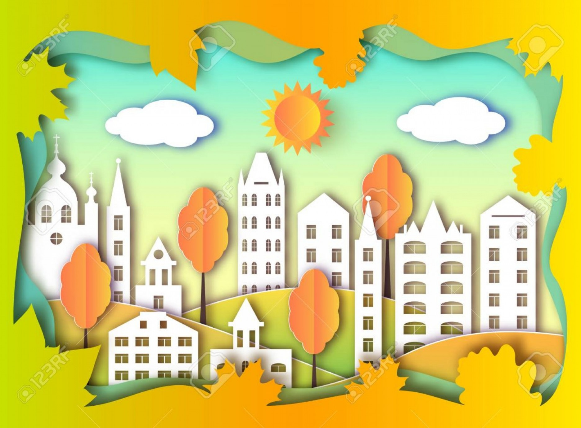 GA Tech Stinger Vector Art: Photostock Vector Colorful Building Of Big City Vector Illustration Paper Art Style