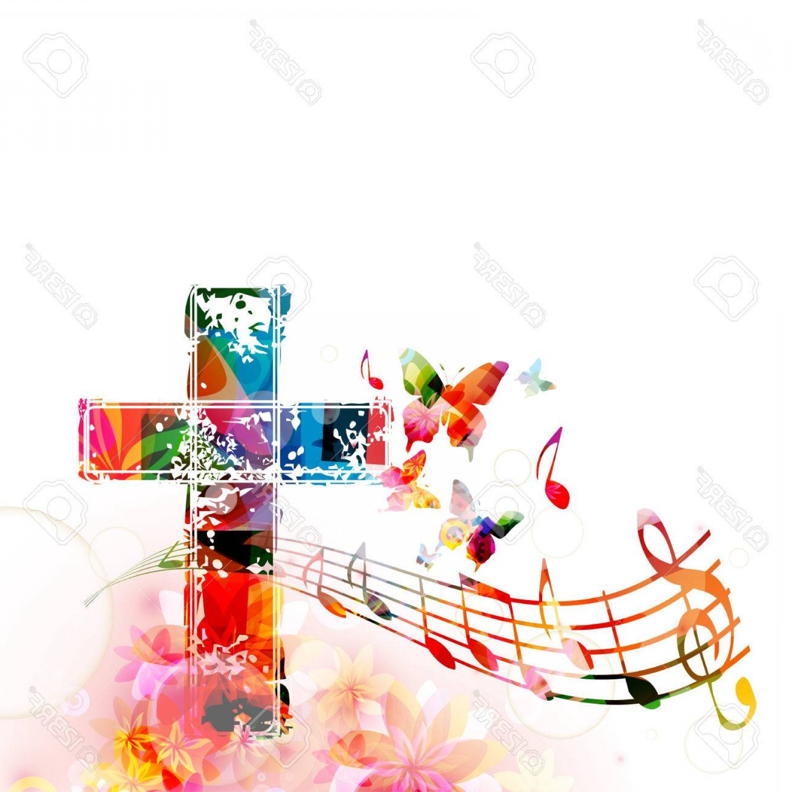 Gospel Music Background Vector: Photostock Vector Colorful Christian Cross With Music Staff And Notes Isolated Vector Illustration Religion Themed Bac