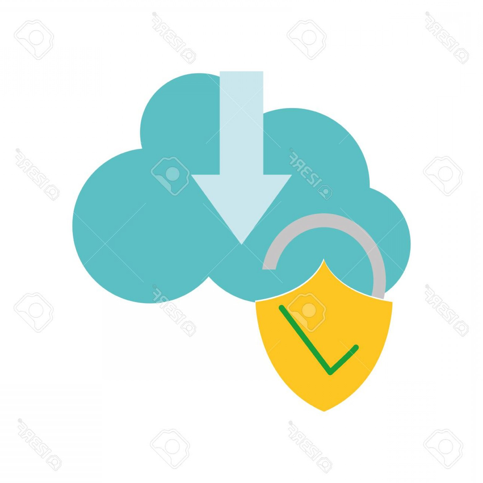 Downloadable Vector Cross: Photostock Vector Colorful Cloud Data Downloading And Padlock Good Security Vector Illustration