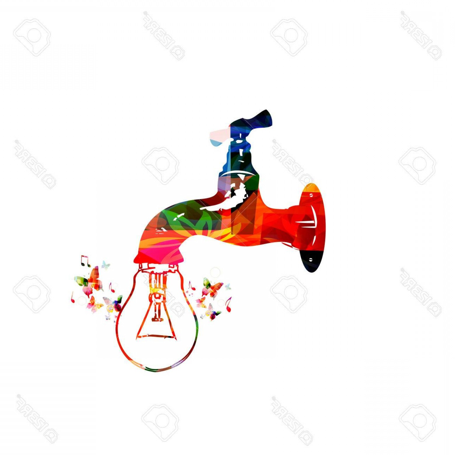 Creative Light Bulb Vector: Photostock Vector Colorful Dripping Tap With Light Bulb Vector Illustration Design For Creative Thinking Creativity In