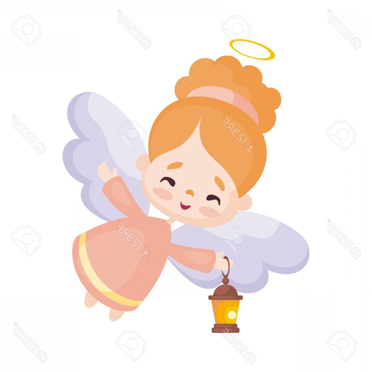 Little Angel Vector: Photostock Vector Colorful Image Of A Pretty Little Angel Vector Illustration On A White Background