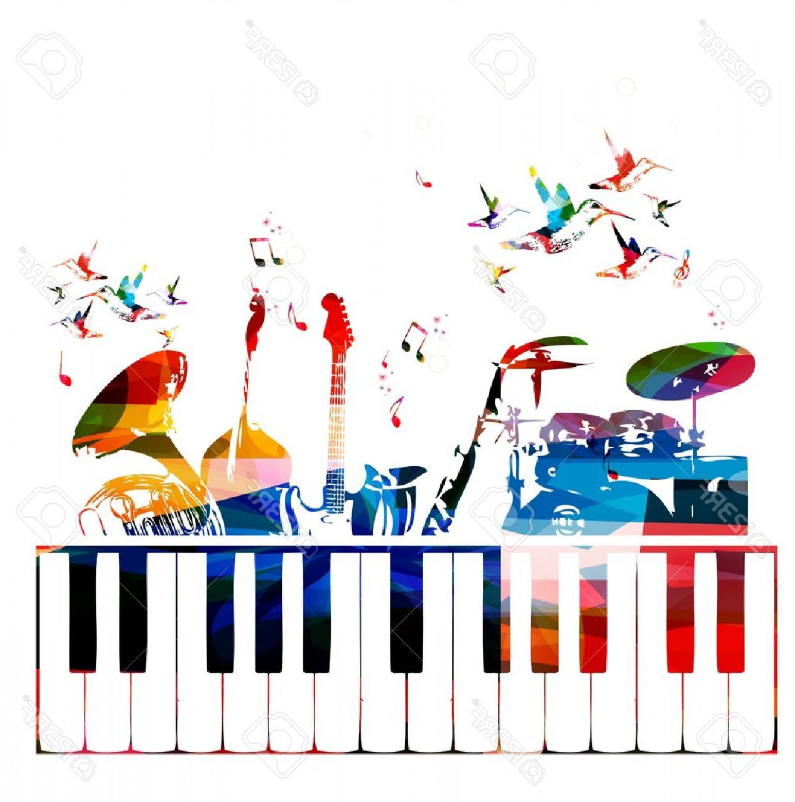 Musical Keyboard Vector: Photostock Vector Colorful Music Instruments Background