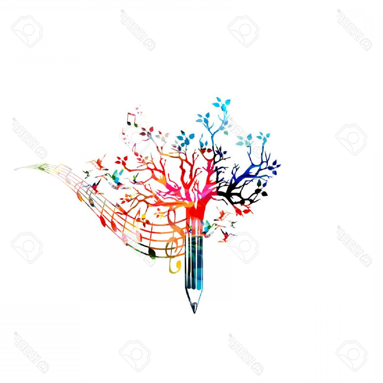 Music Vector Content: Photostock Vector Colorful Pencil Tree Vector Illustration With Music Notes Design For Creative Writing Storytelling B