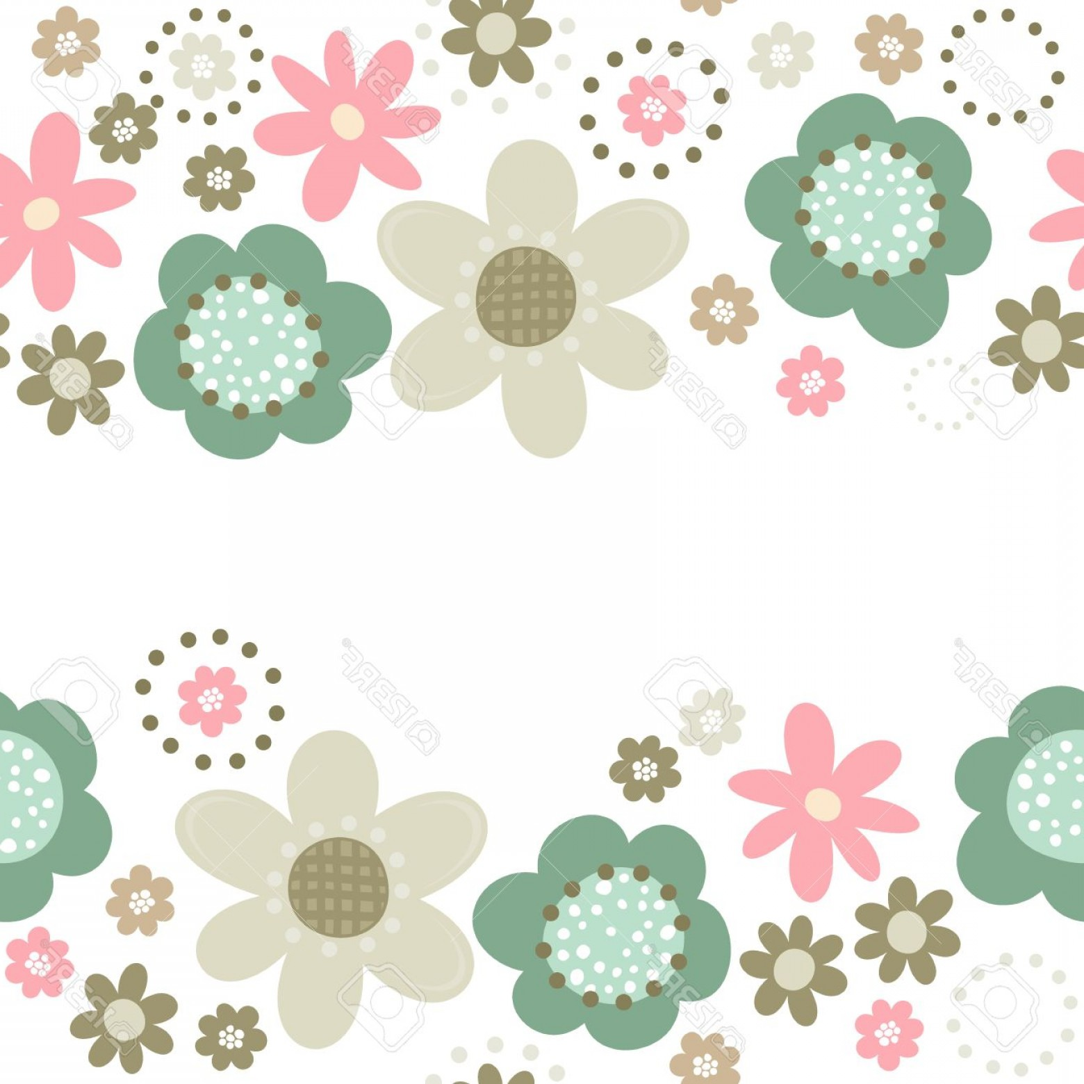 Turquoise Flower Vector: Photostock Vector Colorful Pink Turquoise Beige Brown Little Flowers Romantic Botanical Seamless Double Horizontal Bor