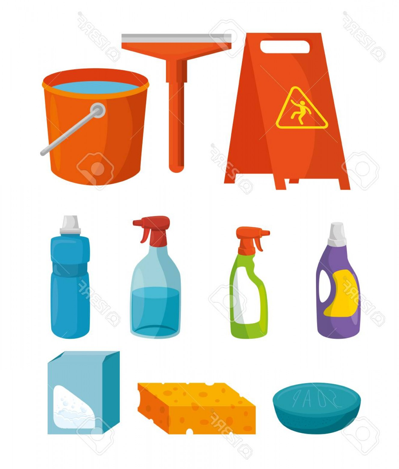 Supplies Vector Graphic: Photostock Vector Colorful Set Of Cleaning Supplies Vector Illustration Graphic Design