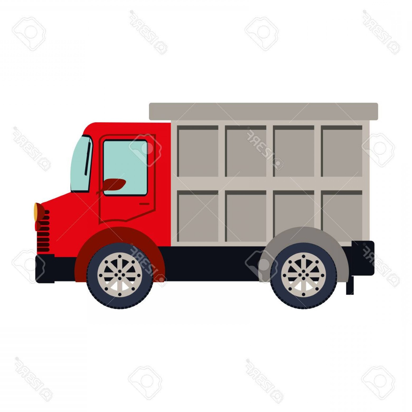 Packages On A Truck Vector: Photostock Vector Colorful Silhouette With Dump Truck Vector Illustration