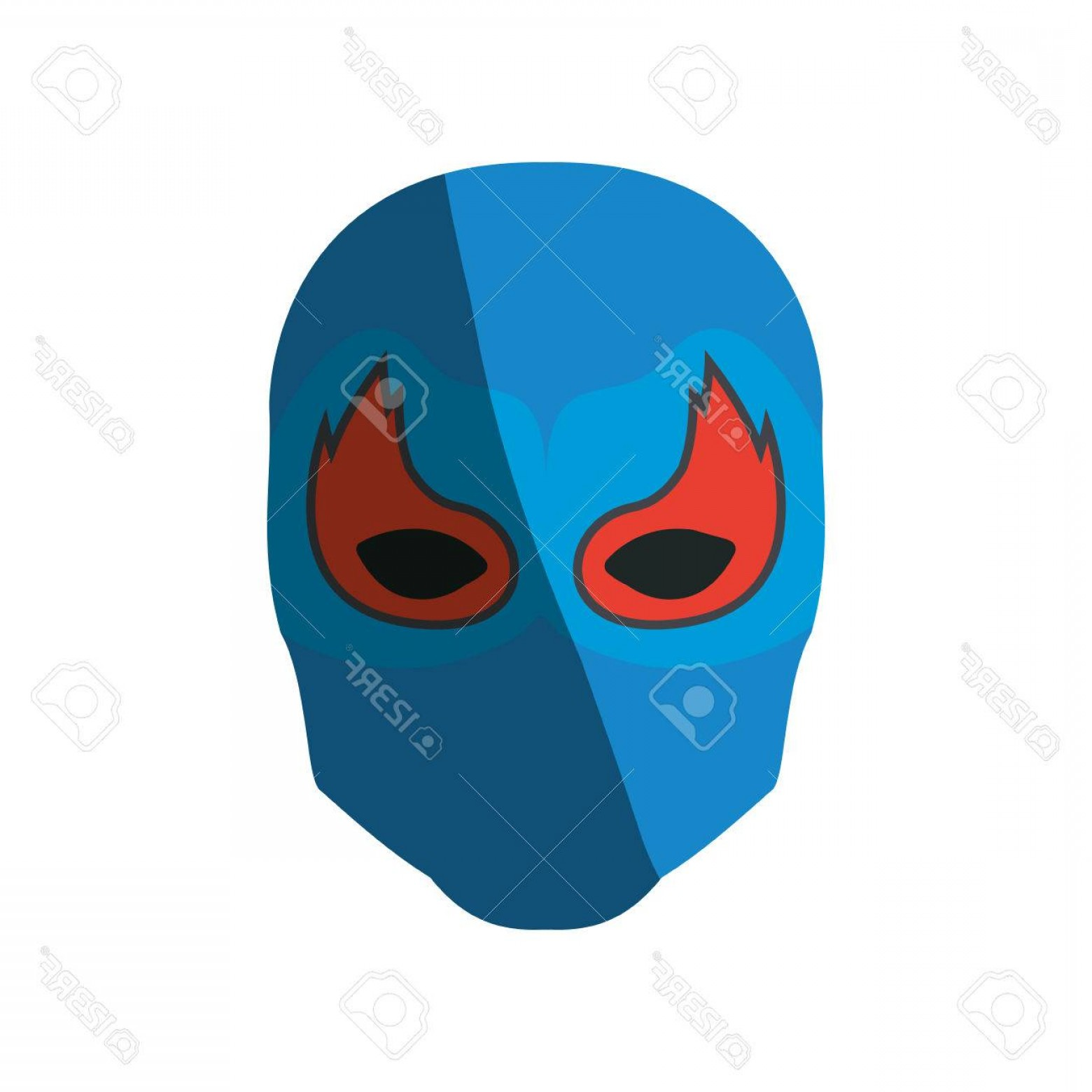 Sand Dollar Silhouette Vector: Photostock Vector Colorful Silhouette With Faceless Man Superhero Masked With Mask Shape Of Flame Around The Eyes And
