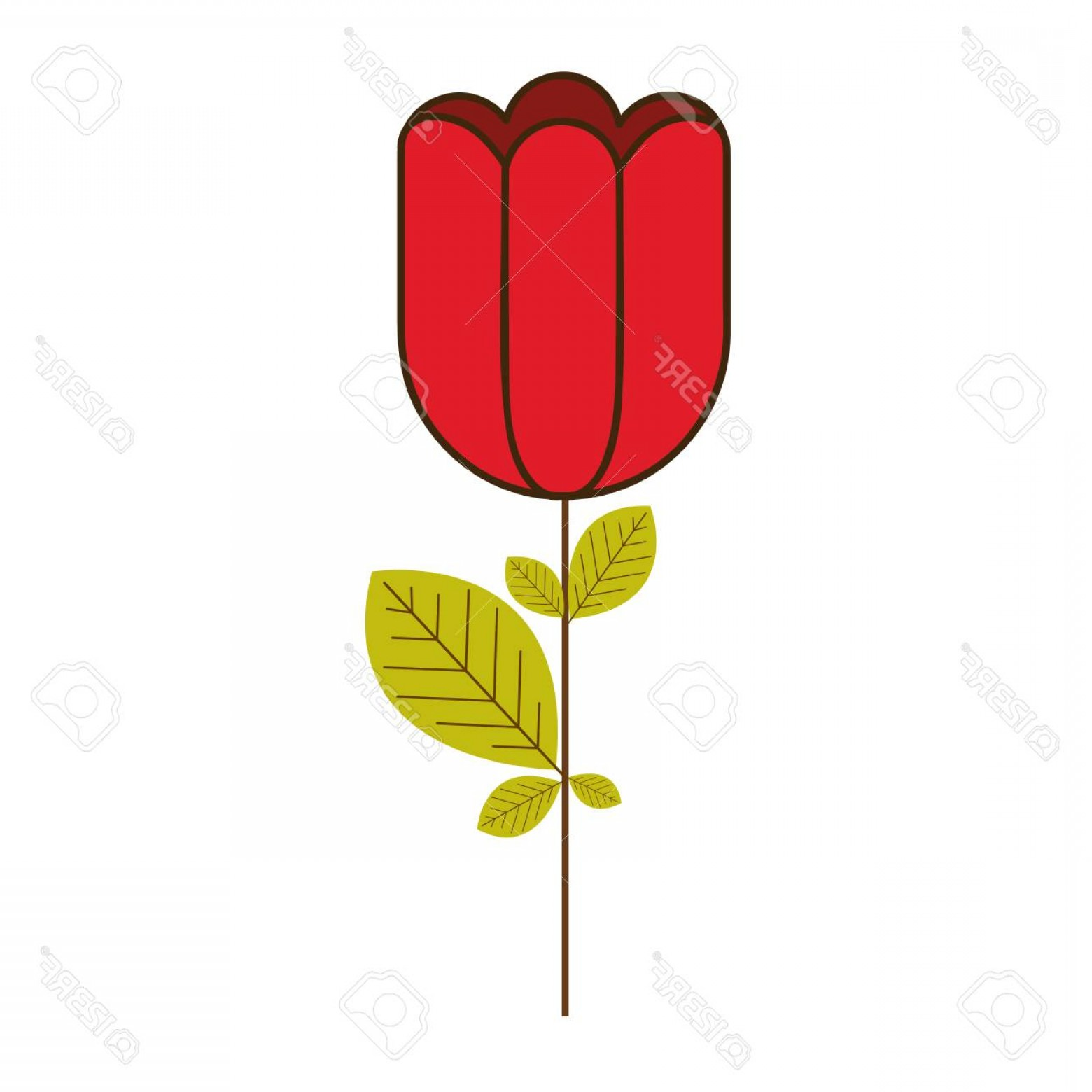 Bud Vector: Photostock Vector Colorful Silhouette With Rose Bud Vector Illustration