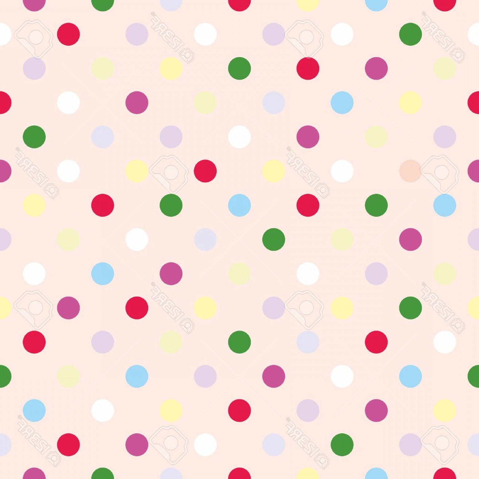 Polka Dot Background Vector Y: Photostock Vector Colorful Vector Background With Red Pink Green Blue White Violet And Yellow Polka Dots On Baby Pink