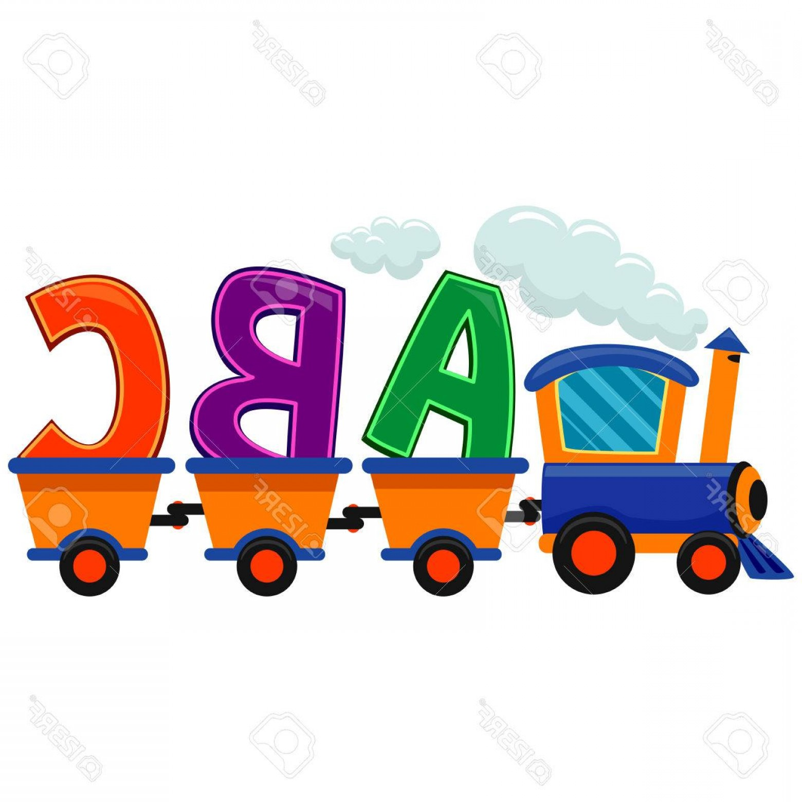 ABC Vectors: Photostock Vector Colorful Vector Illustration Of Train With Abc