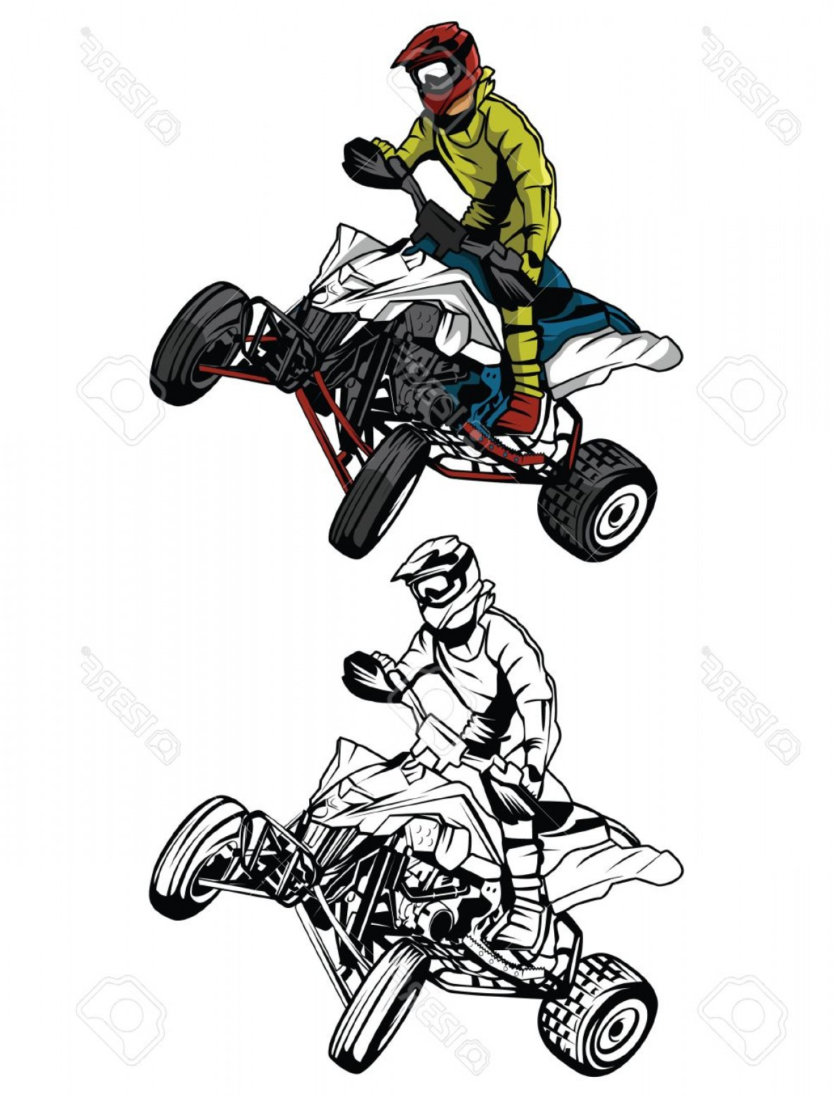 ATV Rider Vector: Photostock Vector Coloring Book Atv Moto Rider Cartoon Character