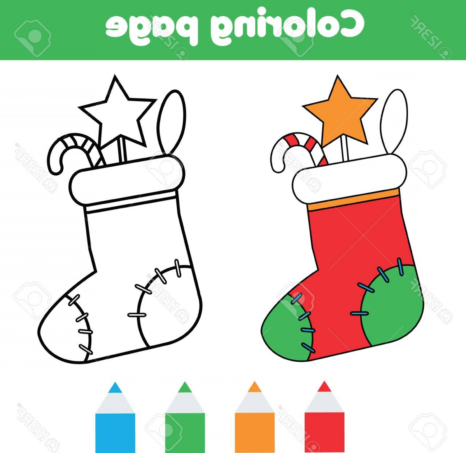 Vector Coloring Sheet: Photostock Vector Coloring Page With Christmas Sock With Gifts Color The Picture Educational Children Game Drawing Kid