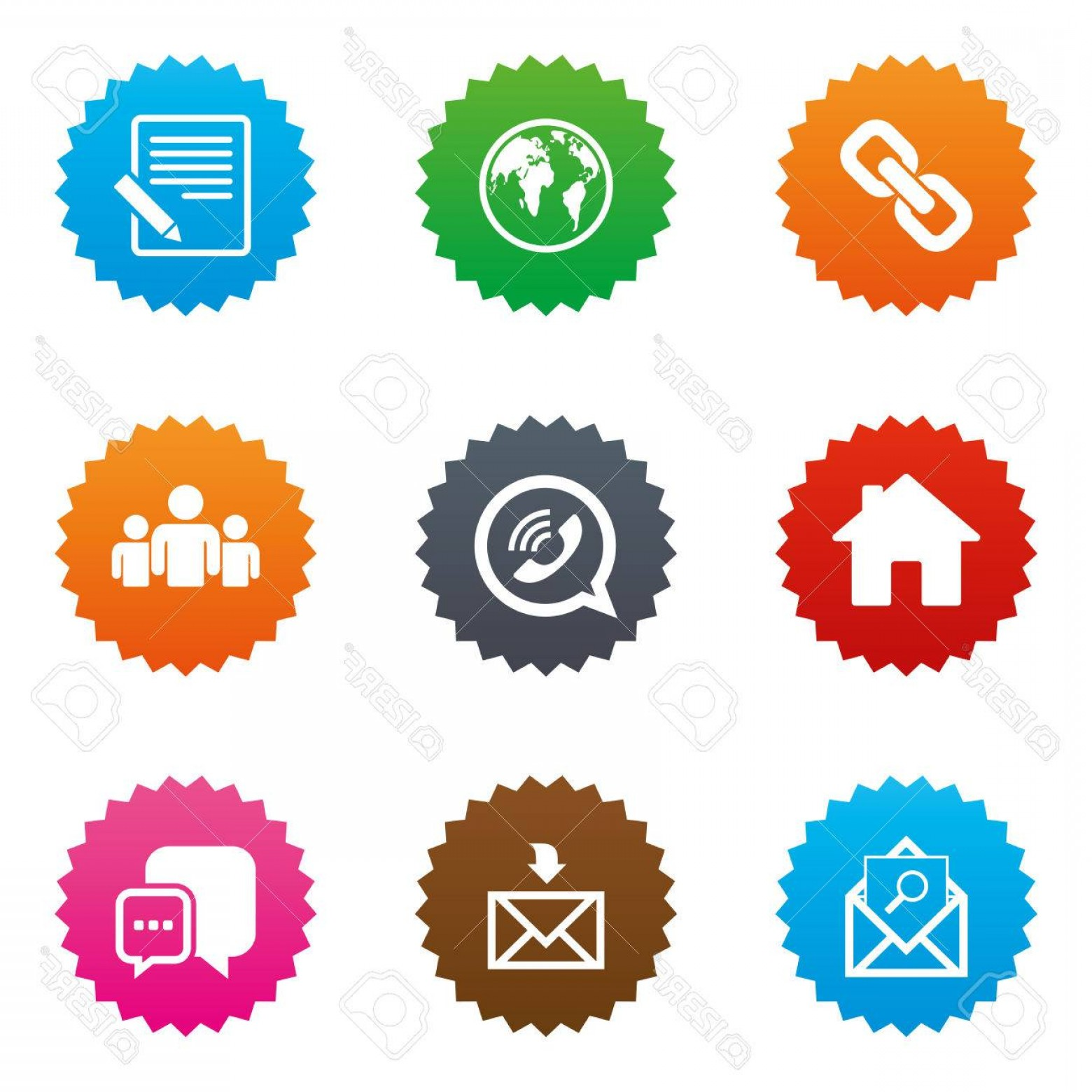 Contact Button Icons Vector Free: Photostock Vector Communication Icons Contact Mail Signs E Mail Call Phone And Group Symbols Stars Label Button With F