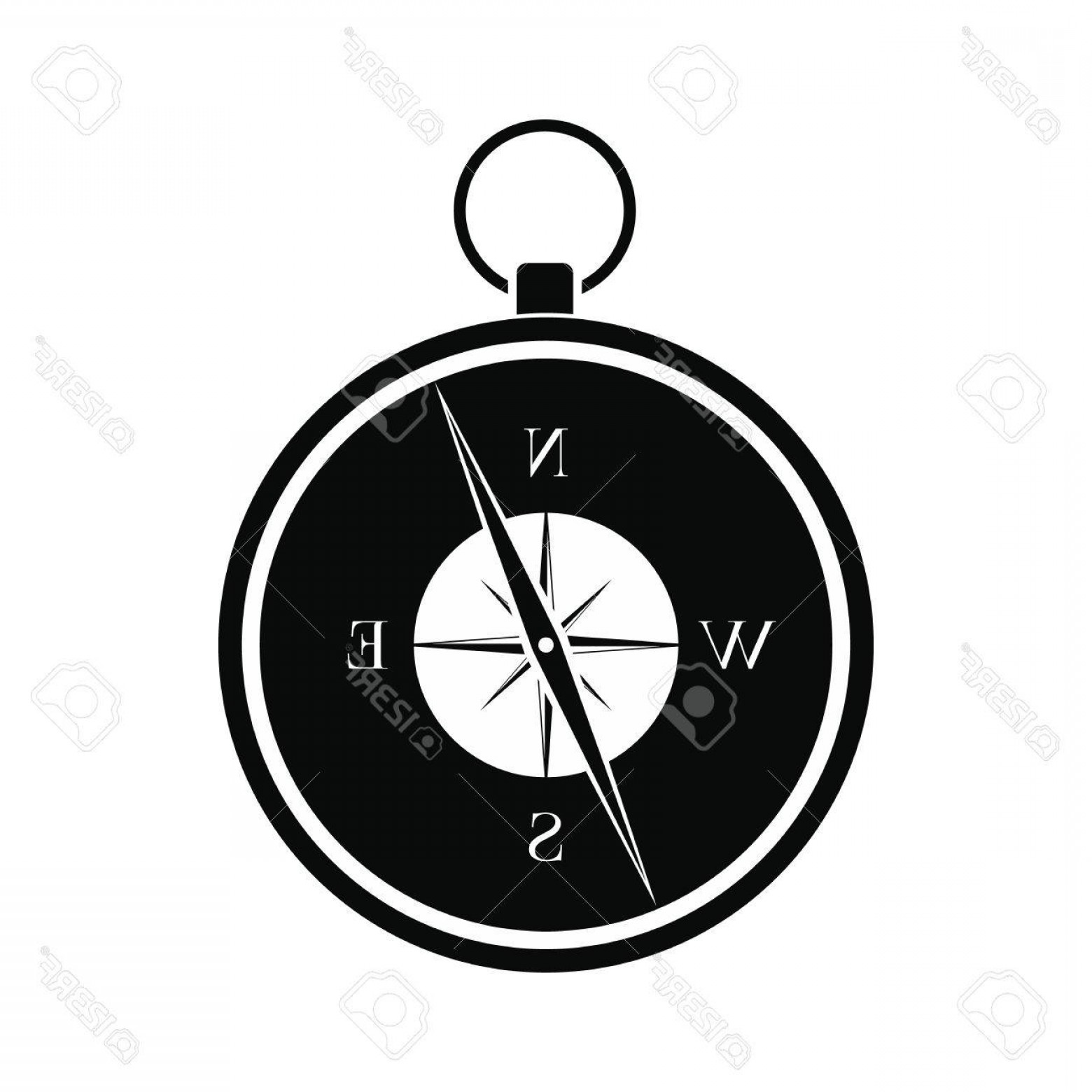 Simple Compass Vector Black And White: Photostock Vector Compass Black Simple Icon Isolated On White Background