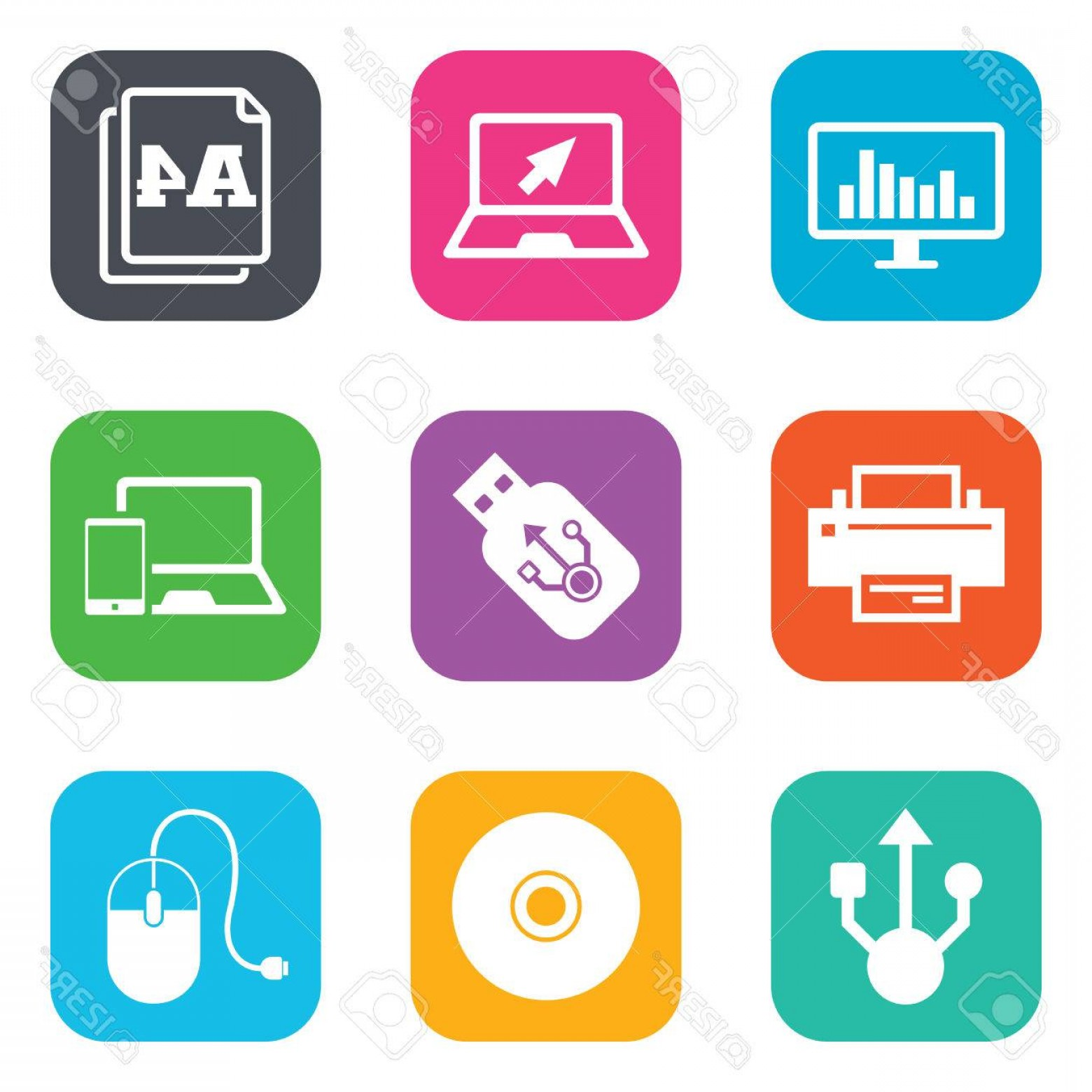 Buttons Vector Art: Photostock Vector Computer Devices Icons Printer Laptop Signs Smartphone Monitor And Usb Symbols Flat Square Buttons V