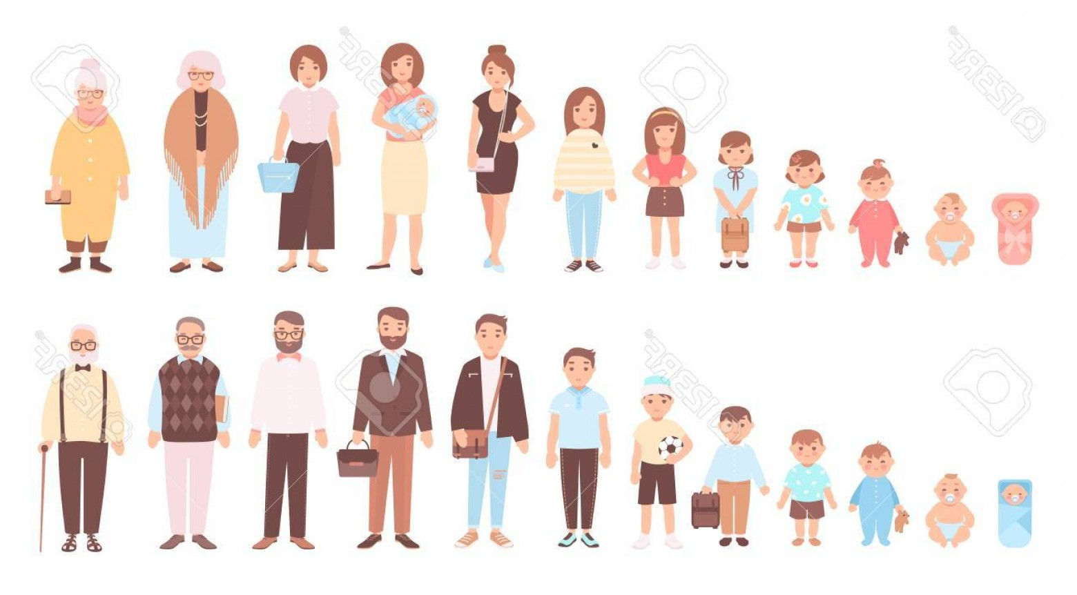 Growth Vector People: Photostock Vector Concept Of Life Cycles Of Man And Woman Visualization Of Stages Of Human Body Growth Development And