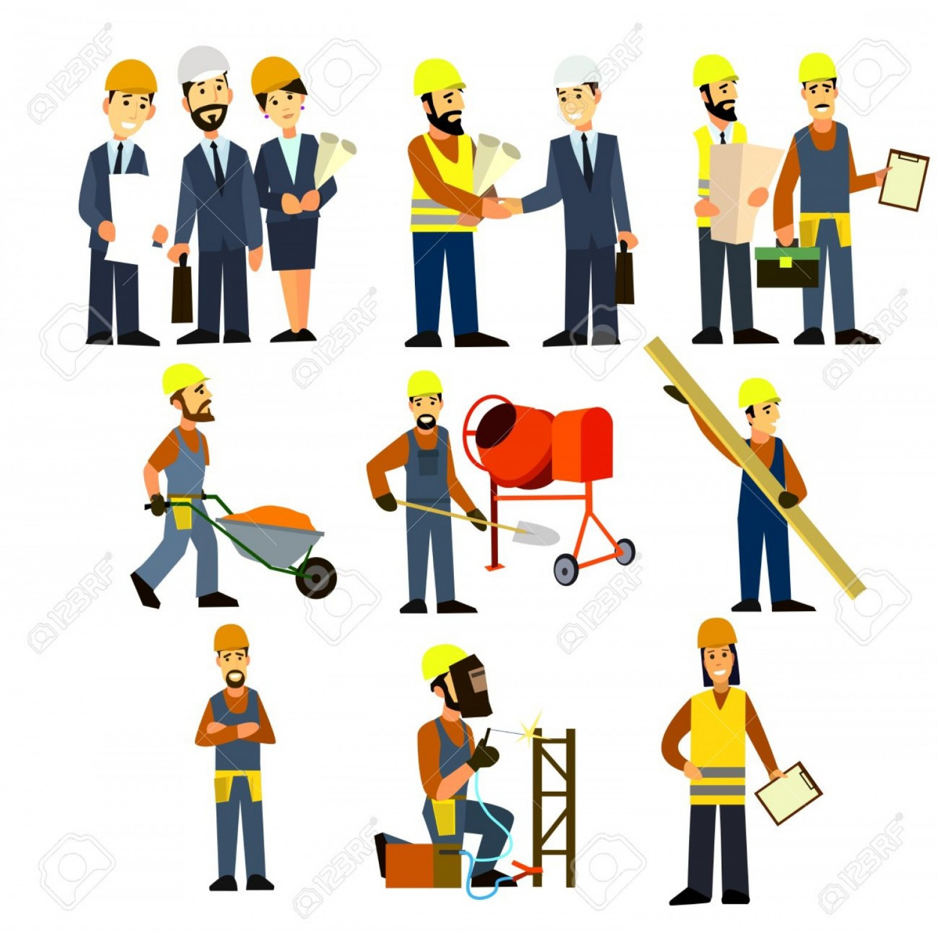 Vector Graphic Of Civil Engineering: Photostock Vector Construction Engineering Industrial Workers Project Manager Vector Civil Engineer Architect And Cons