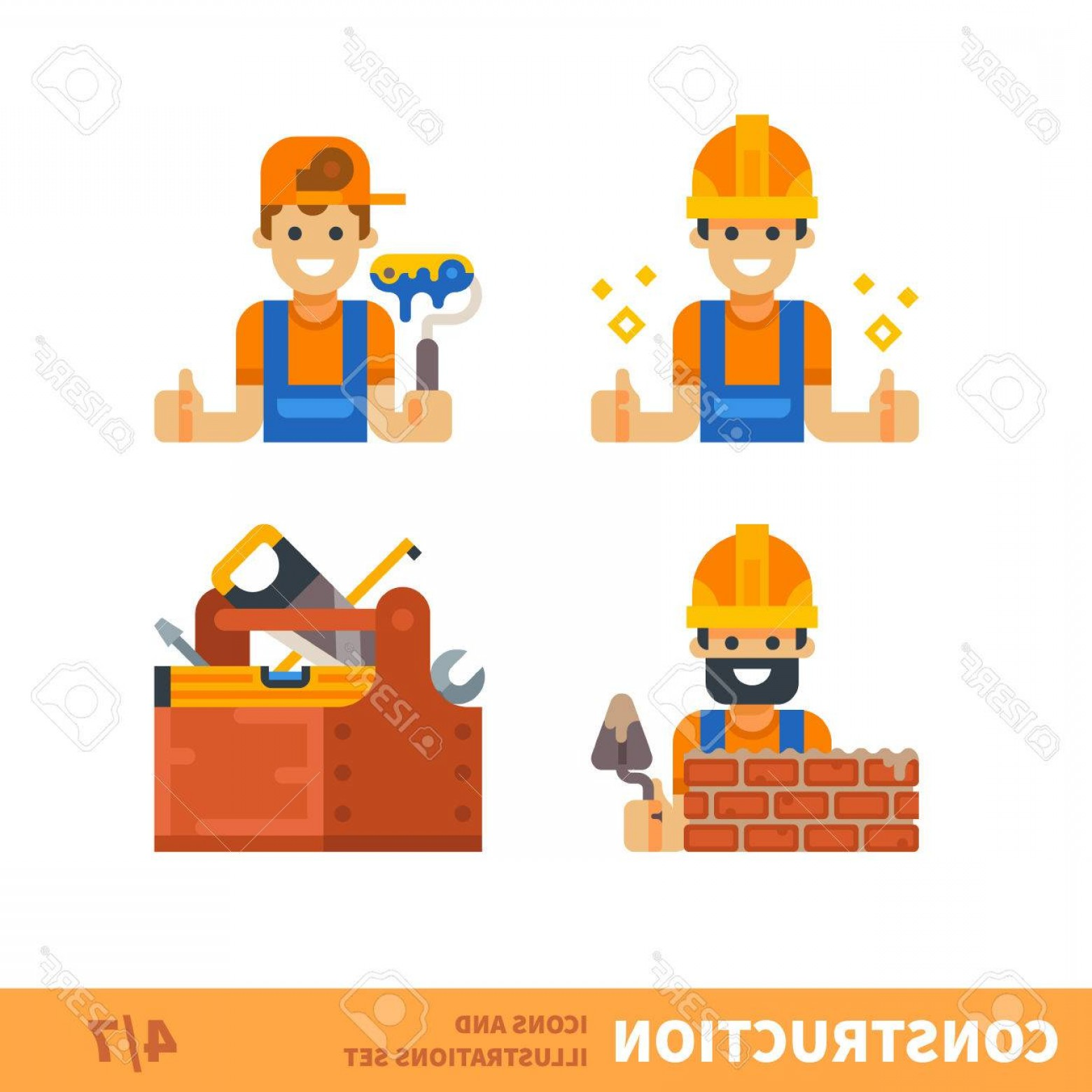 General Contractor Vector: Photostock Vector Construction Set Work For Builder Or Foreman Painting Building Bricklaying Tools For Construction An
