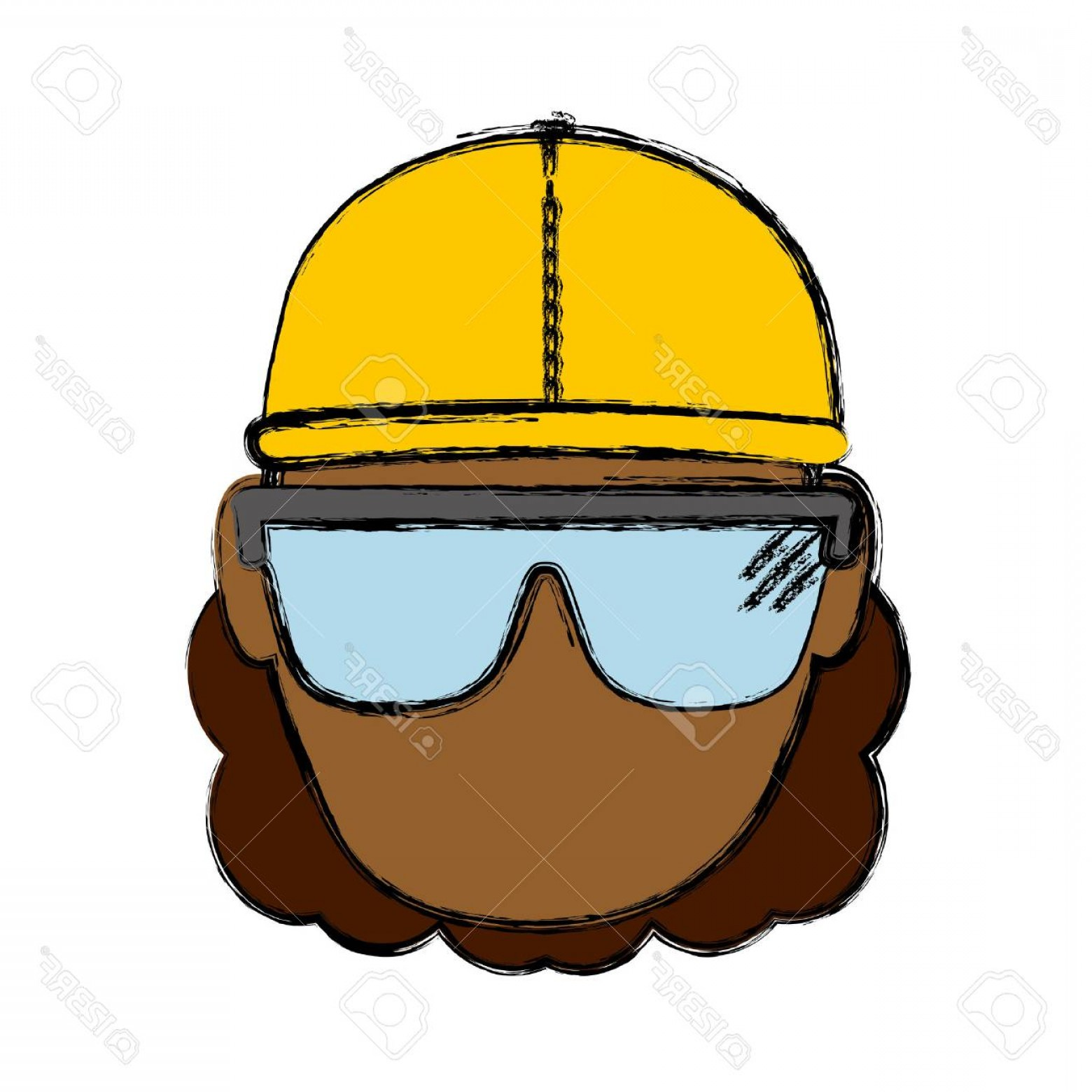 Construction Safety Goggles Vector: Photostock Vector Construction Worker With Safety Goggles And Helemt Icon Over White Background Colorful Design Vector