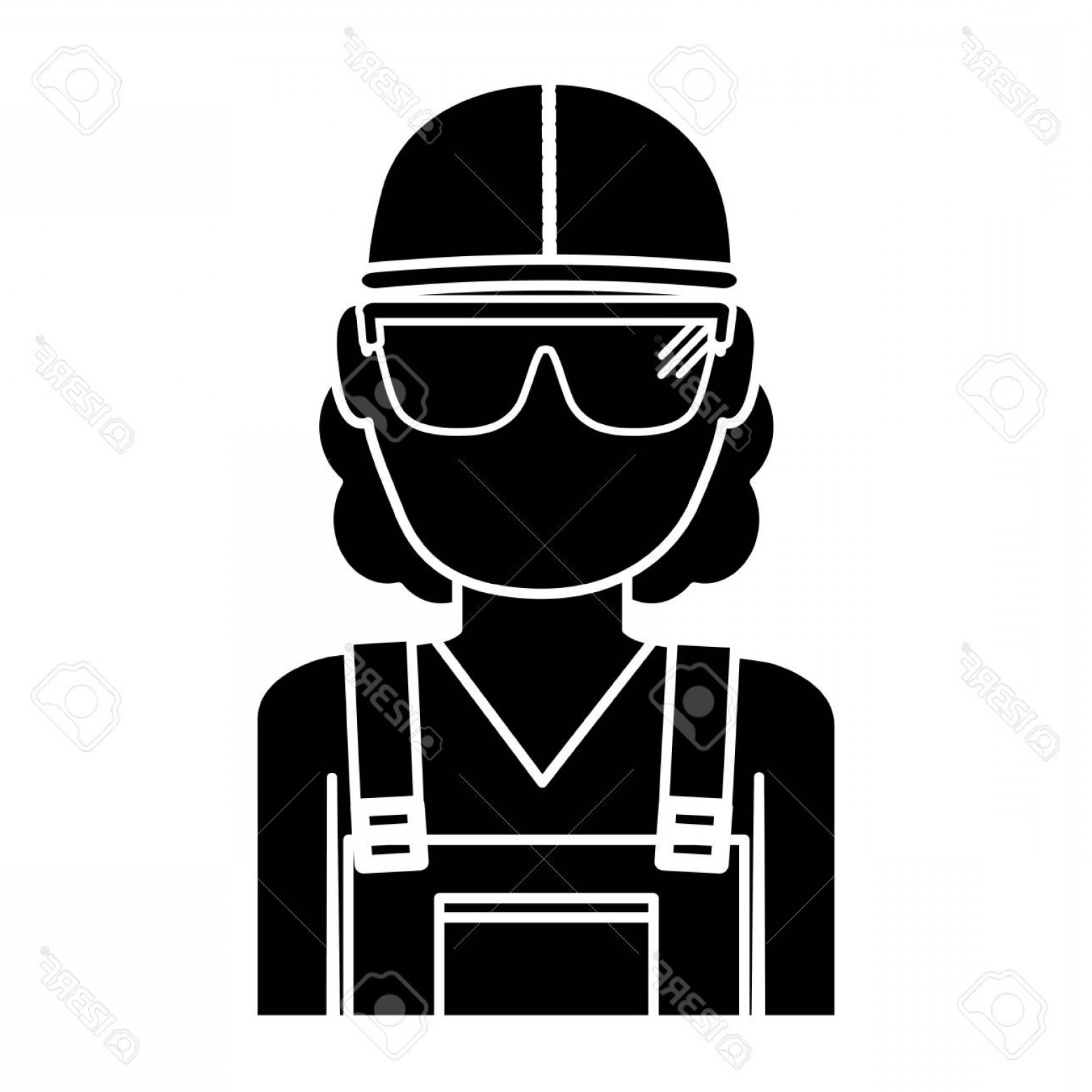 Construction Safety Goggles Vector: Photostock Vector Construction Worker With Safety Goggles And Helemt Icon Over White Background Vector Illustration