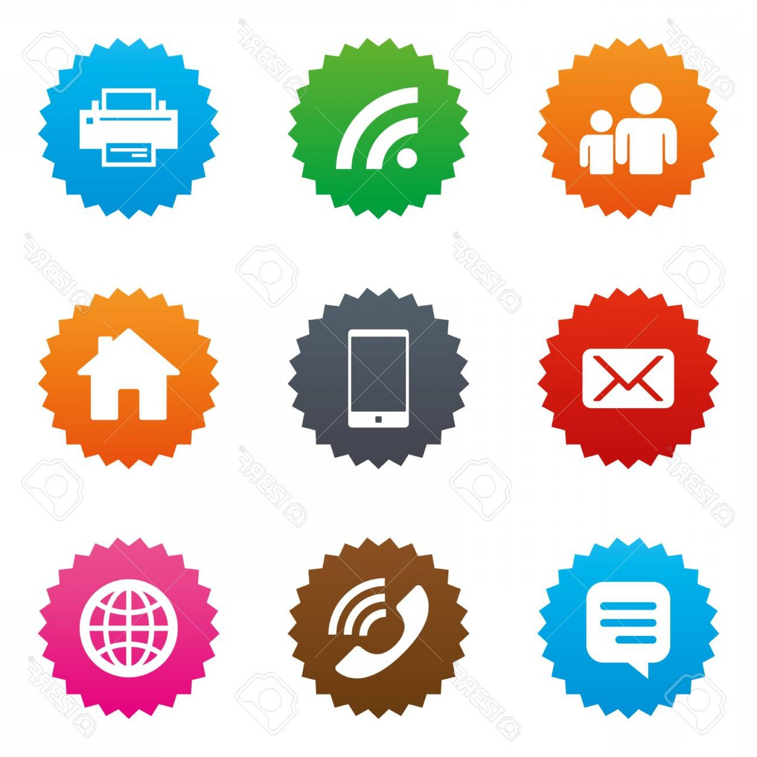 Contact Button Icons Vector Free: Photostock Vector Contact Mail Icons Communication Signs E Mail Chat Message And Phone Call Symbols Stars Label Button