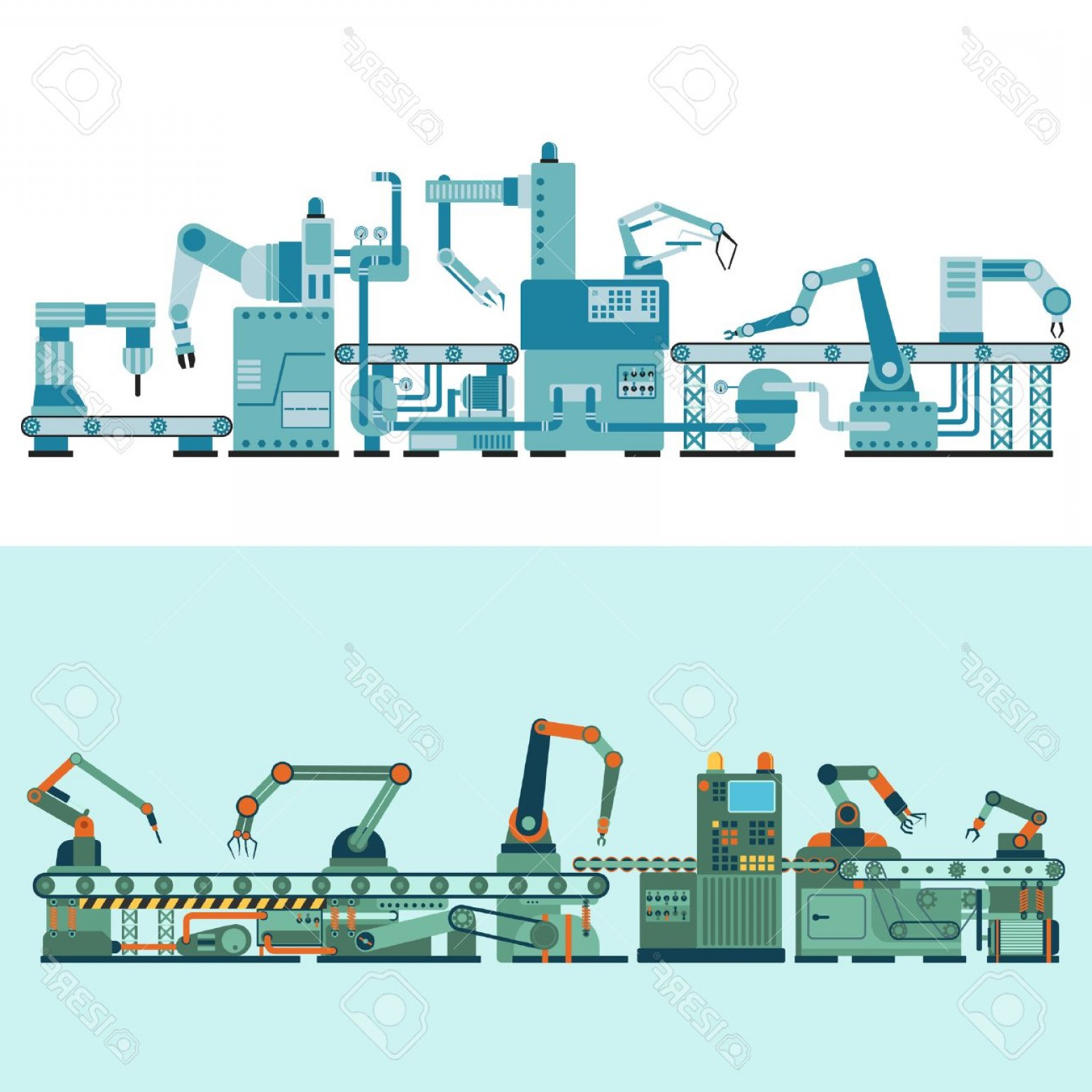 Vector Manufacturing Machine: Photostock Vector Container Terminal Production Transporter Industrial Technology Plant Factory Equipment Vector Produ