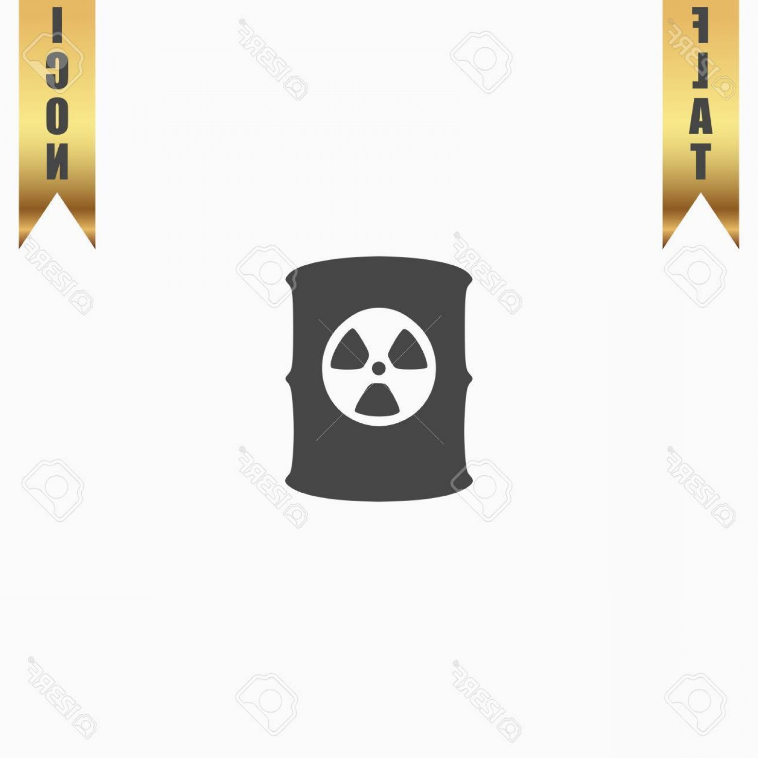 Radioactive Symbol Vector: Photostock Vector Container With Radioactive Waste Flat Icon Vector Illustration Grey Symbol On White Background With