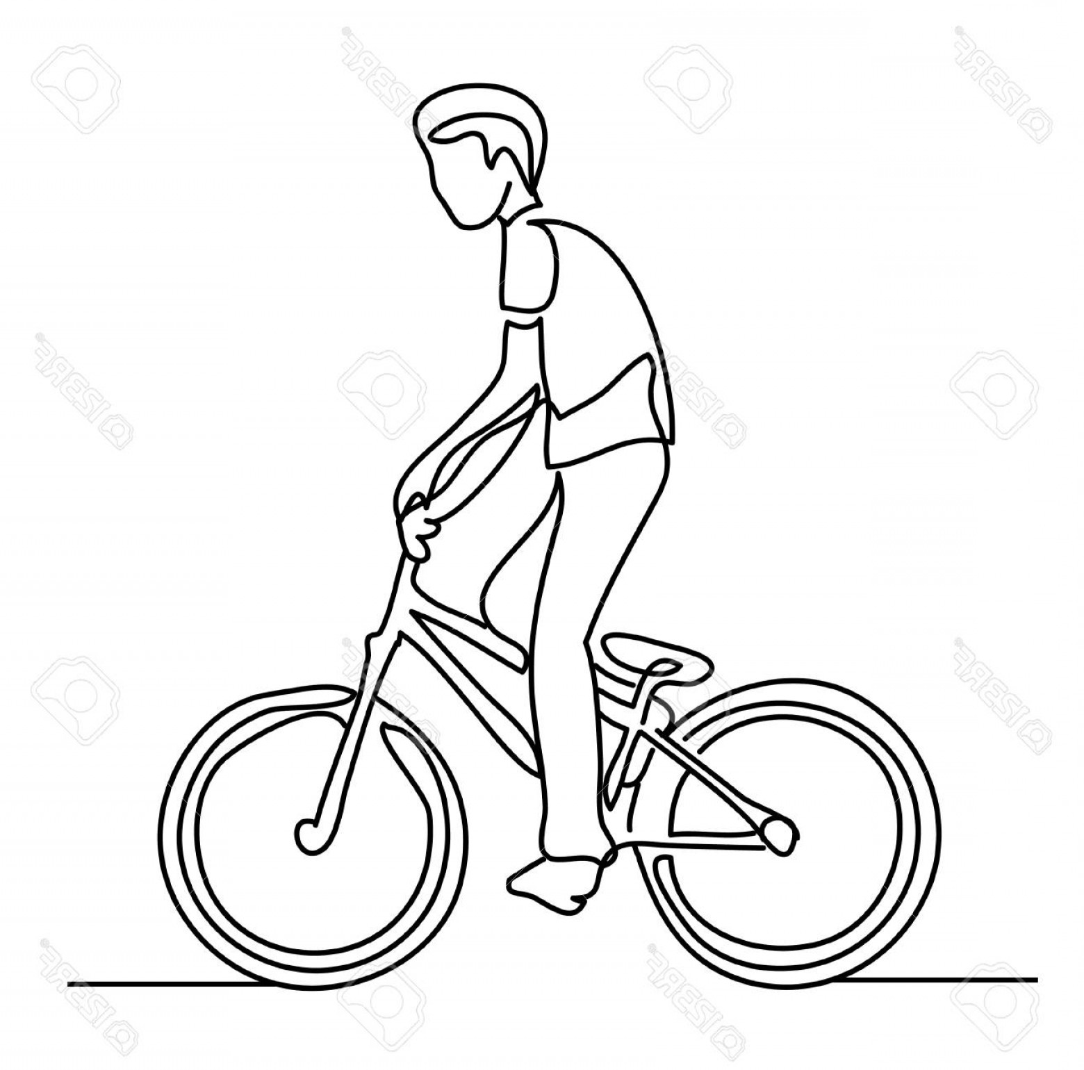 Indoor Cycling Bike Vector: Photostock Vector Continuous Line Drawing Boy On Bike Vector Illustration People In The Park Sketch