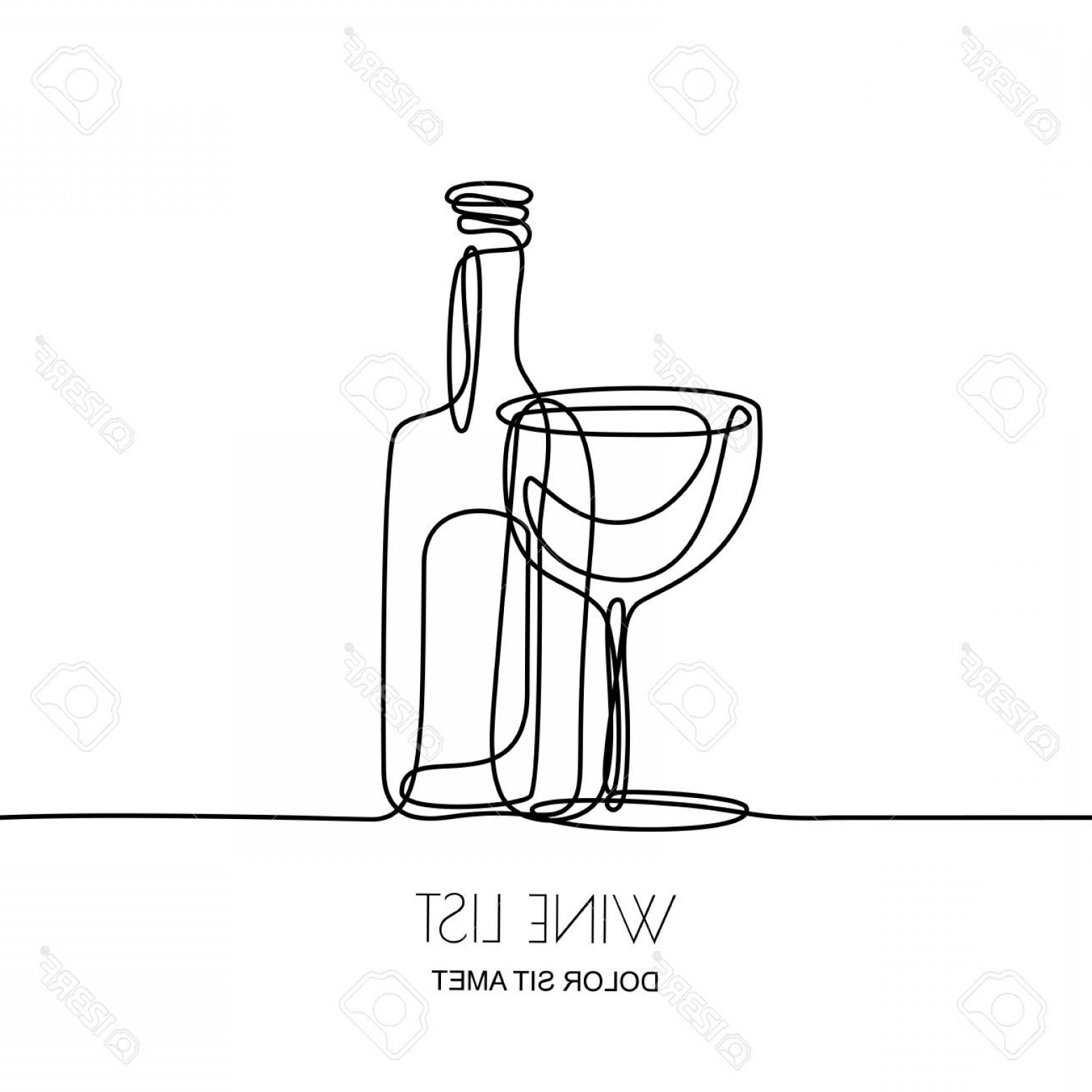 Wine Bottle Vector Line Art: Photostock Vector Continuous Line Drawing Vector Linear Black Illustration Of Wine Bottle And Glass Isolated On White