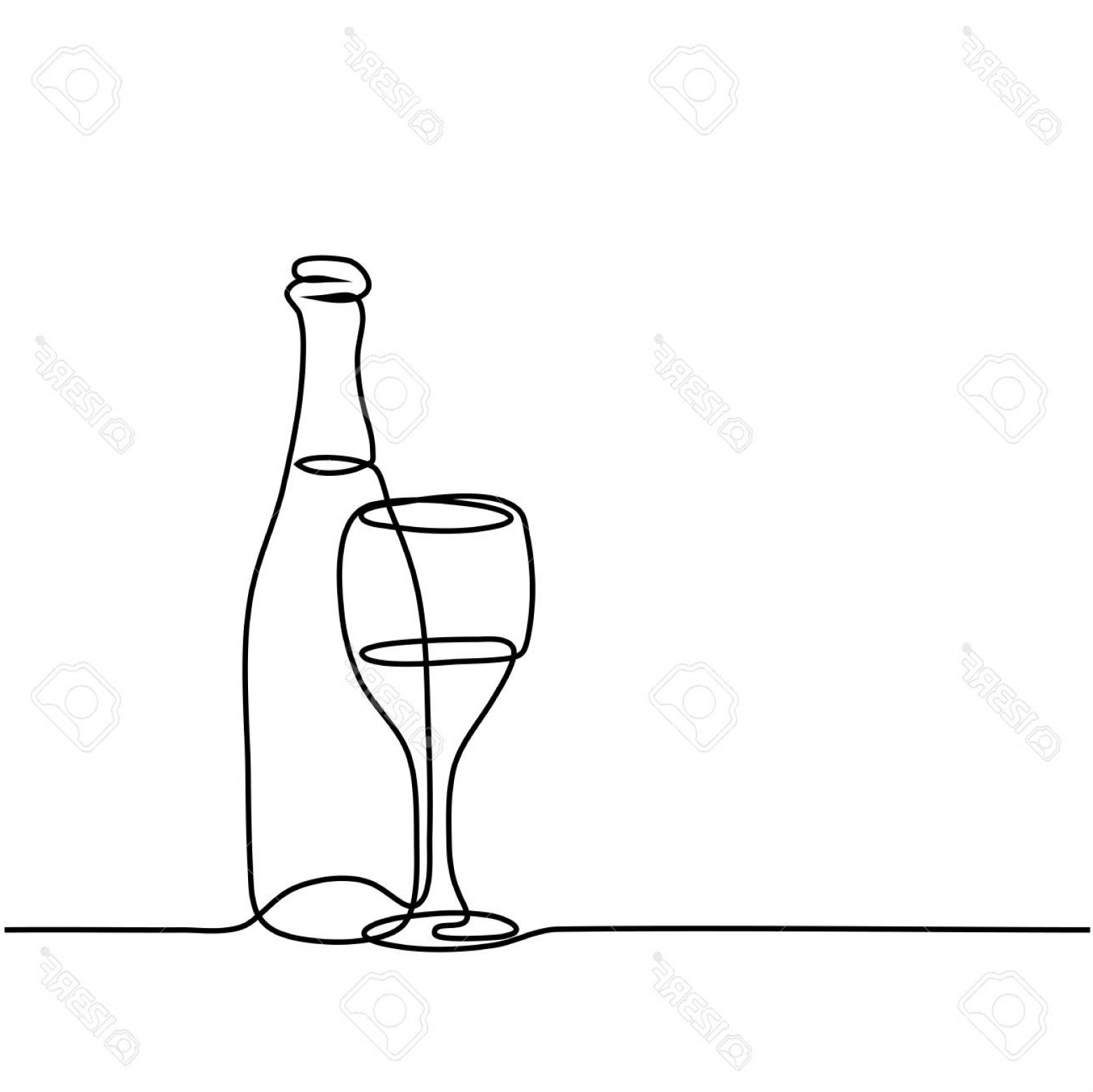 Wine Bottle Vector Line Art: Photostock Vector Continuous Line Drawing Wine Bottle And Glass Contour Black Outline Vector