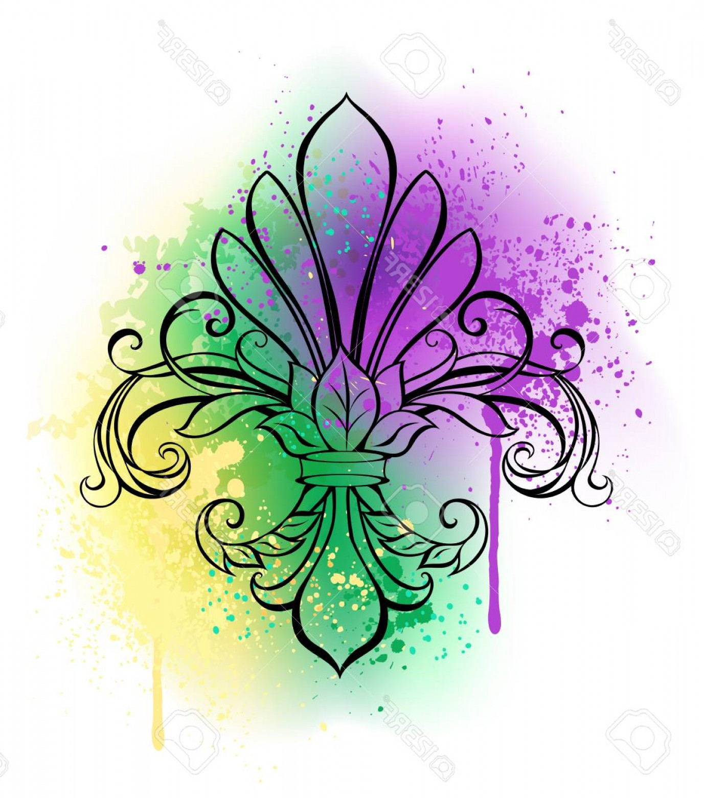 Purple Green And White Vector: Photostock Vector Contour Lily On A White Background Shaded With Purple Green And Yellow Watercolor Paint Painted Fleu