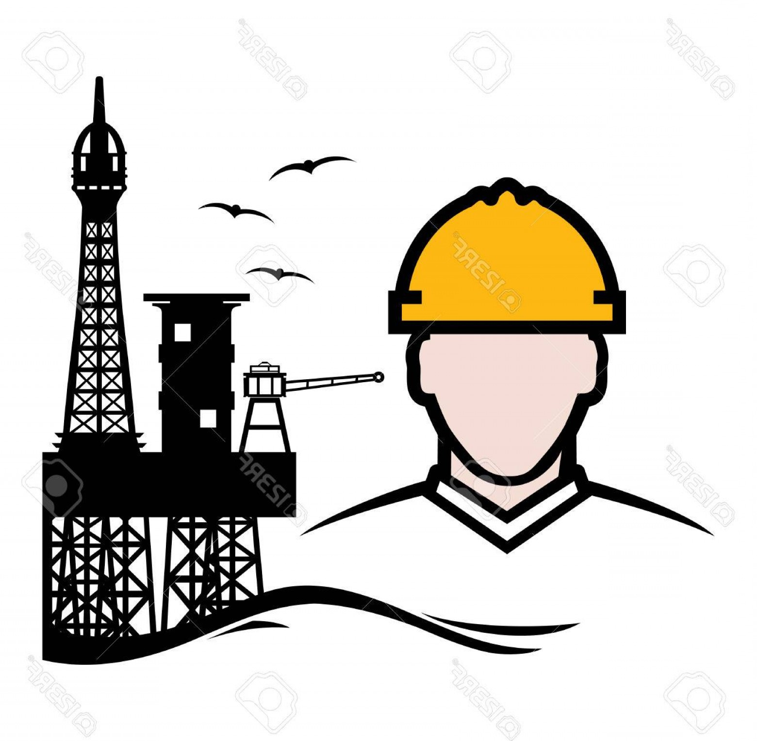 General Contractor Vector: Photostock Vector Contractor Oil Platform Vector Icon