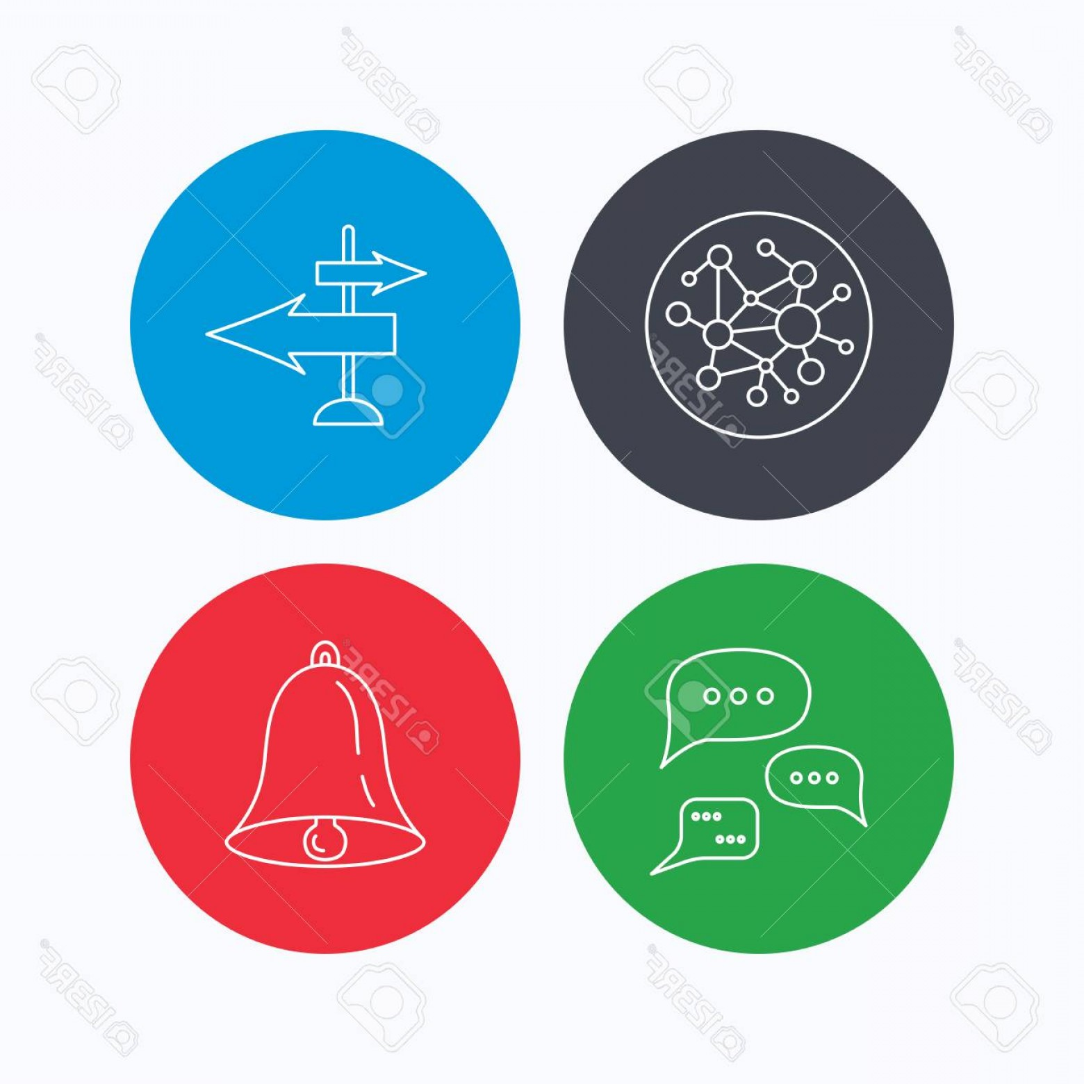 Vector Signal Direction: Photostock Vector Conversation Global Network And Direction Icons Bell Alarm Signal Linear Sign Linear Icons On Colore