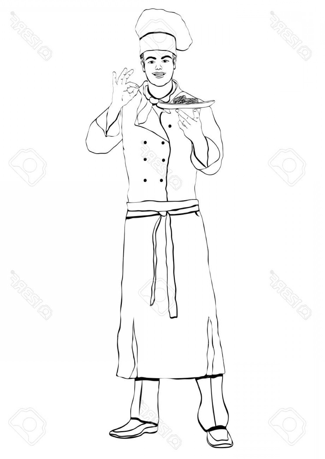 Handsome Man Vector Outline: Photostock Vector Cook Standing Front Side Coloring Vector Outline Portrait Male Chef Full Length Black And White Pain