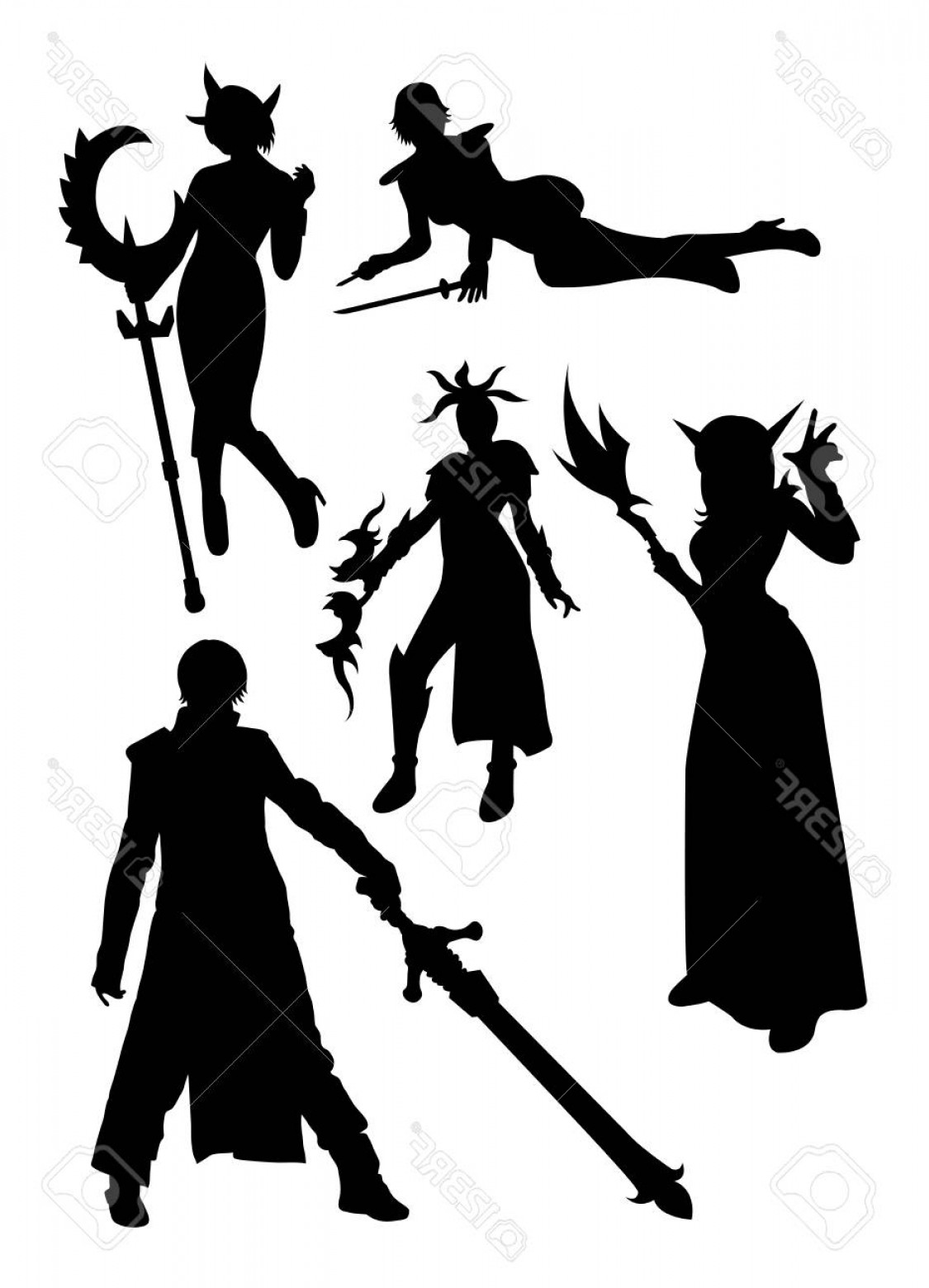 Vector Cosplay: Photostock Vector Cosplay Detail Silhouette Good Use For Symbol Logo Web Icon Mascot Sign Or Any Design You Want